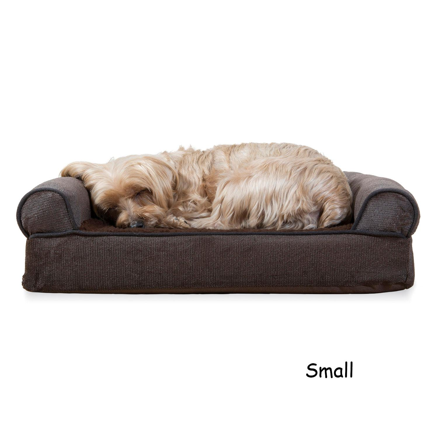 FurHaven Faux Fleece & Chenille Soft Woven Orthopedic Sofa Dog Bed - Coffee