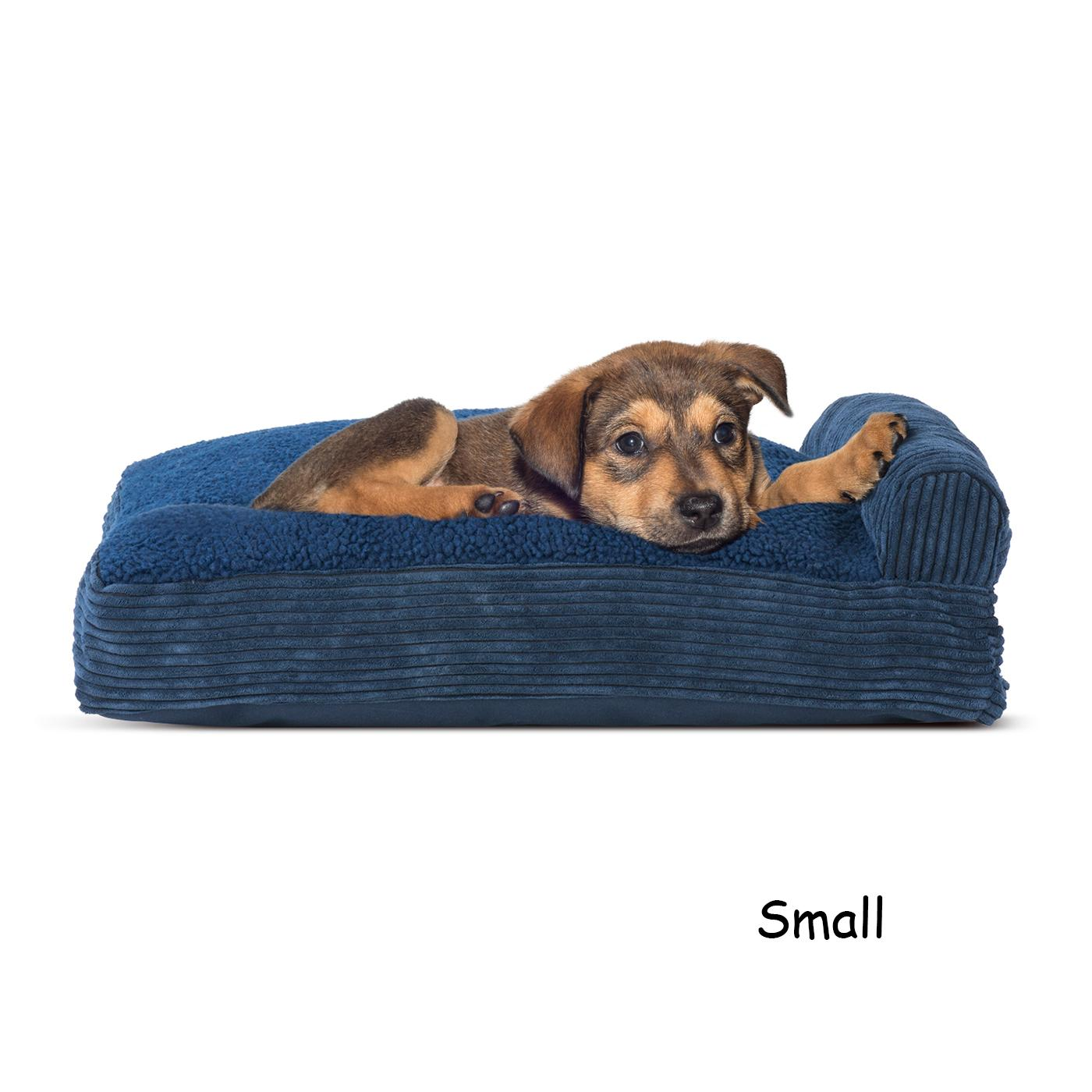 FurHaven Faux Fleece & Corduroy Chaise Lounge Pillow Sofa-Style Dog Bed - Navy Blue