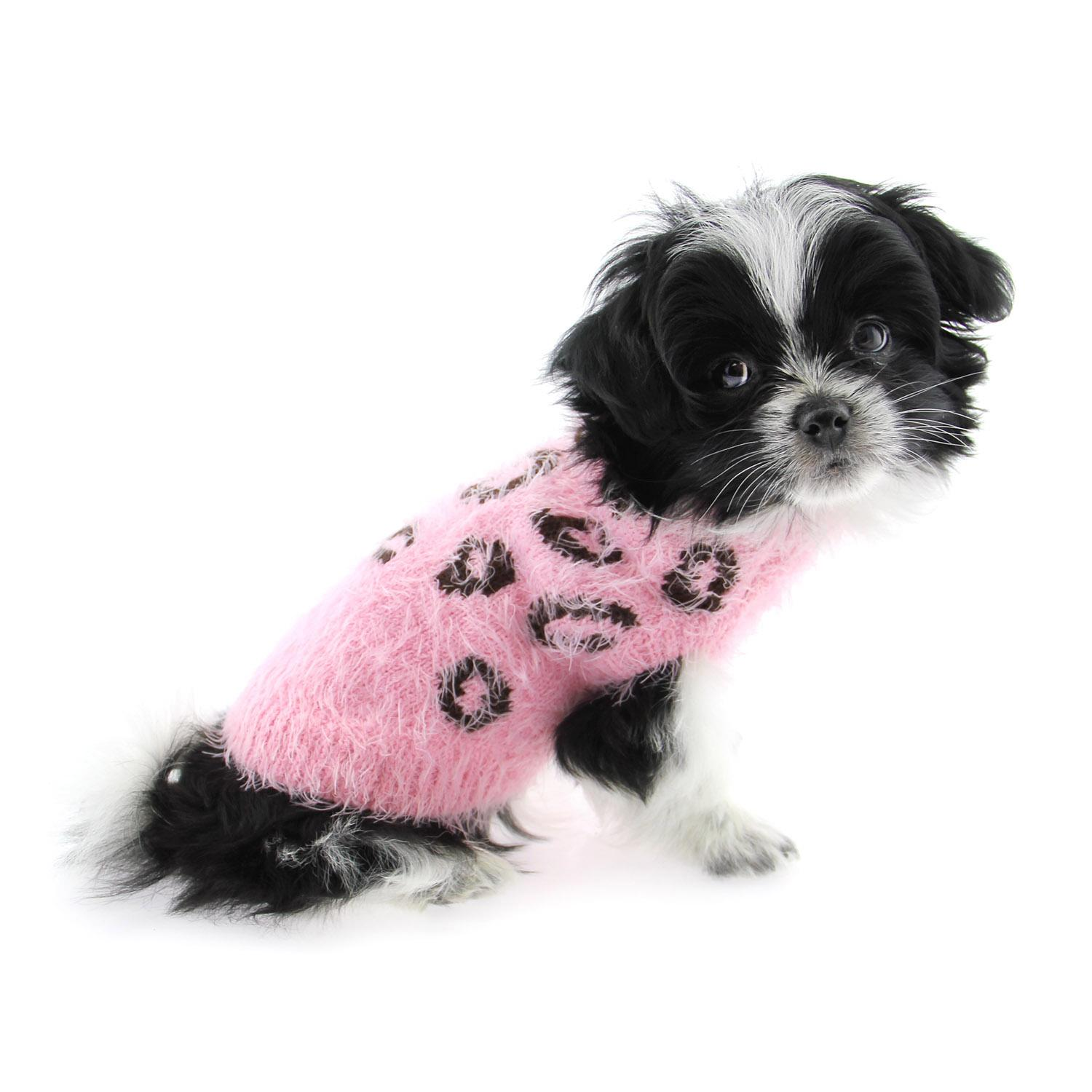 Feathersoft Cheetah Dog Sweater by Hip Doggie - Pink