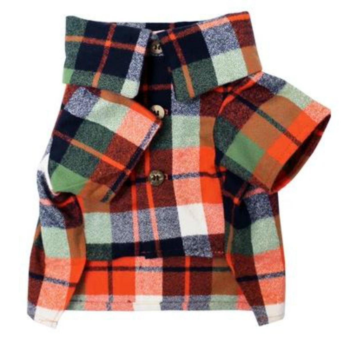 Harvest Flannel Dog Shirt by Dog Threads - Orange Plaid