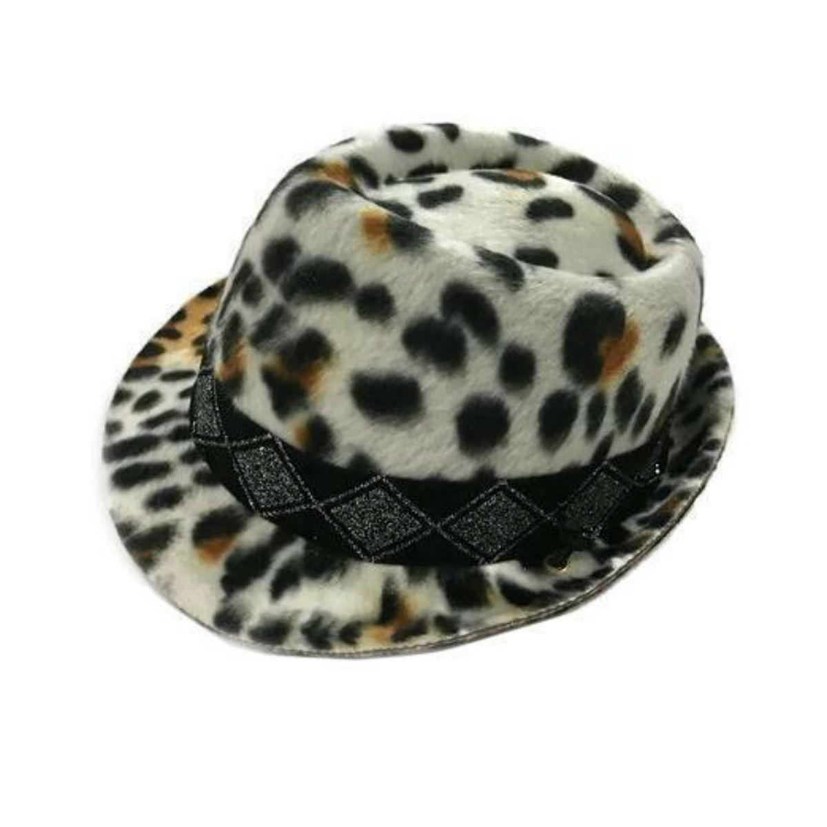 Felt Fedora Dog Hat - Leopard