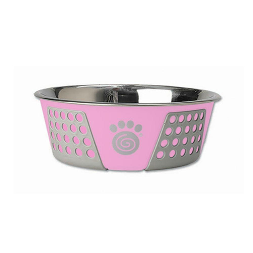 Fiji Stainless Steel Dog Bowl - Pink/Gray