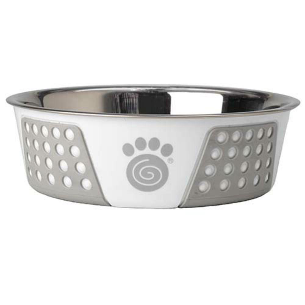 Fiji Stainless Steel Dog Bowl - White/Gray