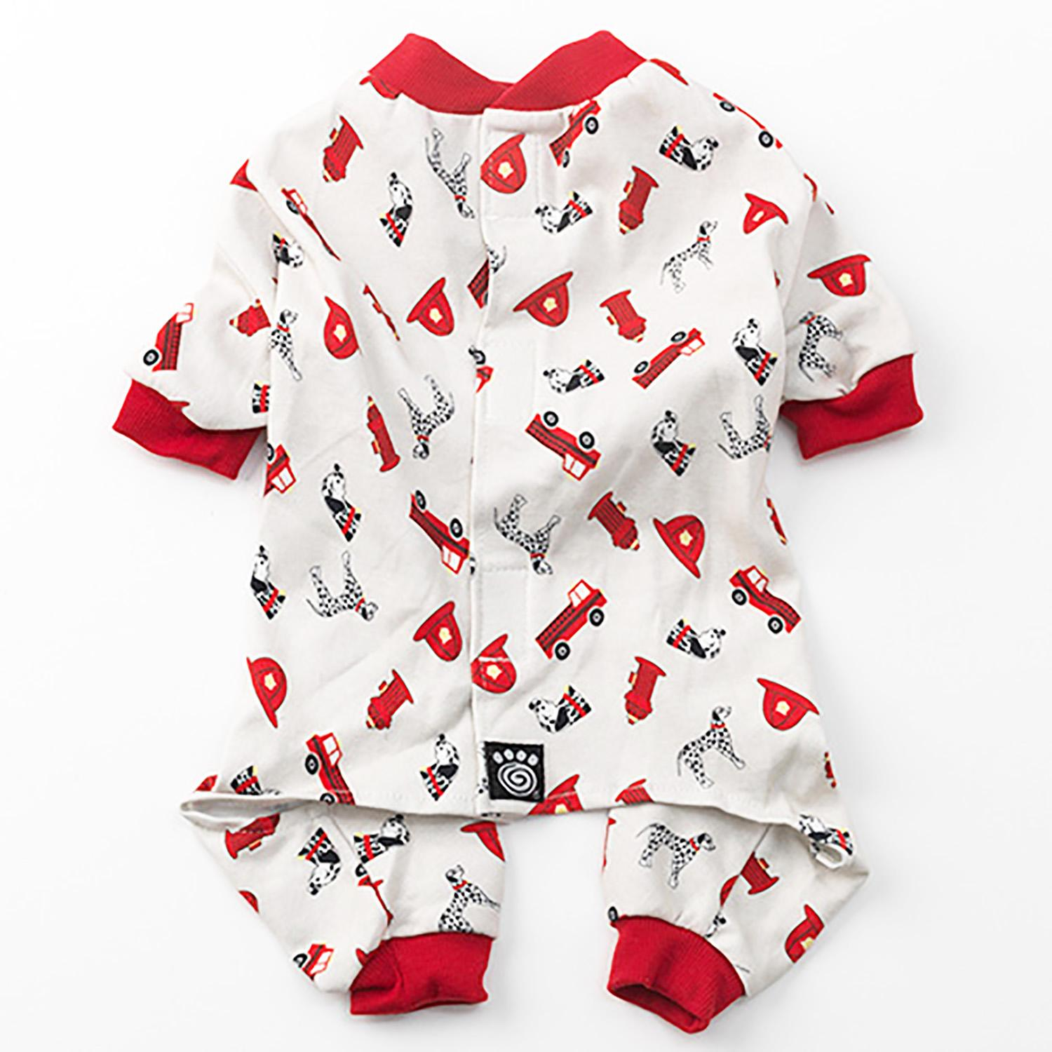 Firetrucks Dog Pajamas - Cream
