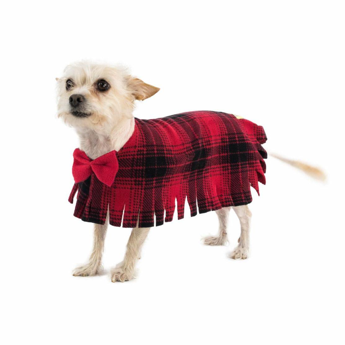 Fleece Dog Poncho by Poocho - Red Plaid with Bow