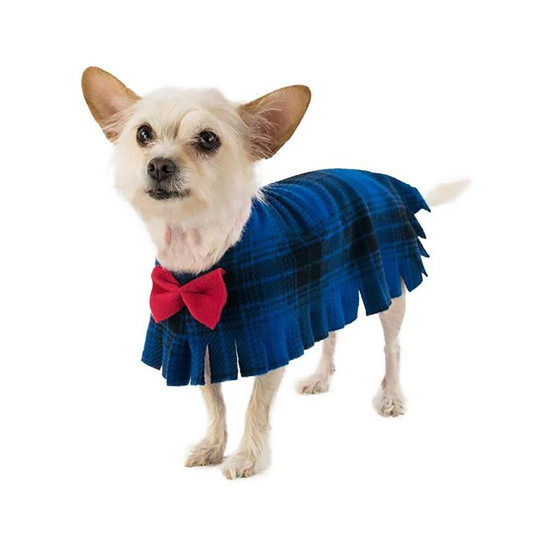 Fleece Dog Poncho by Poocho - Blue Plaid with Bow