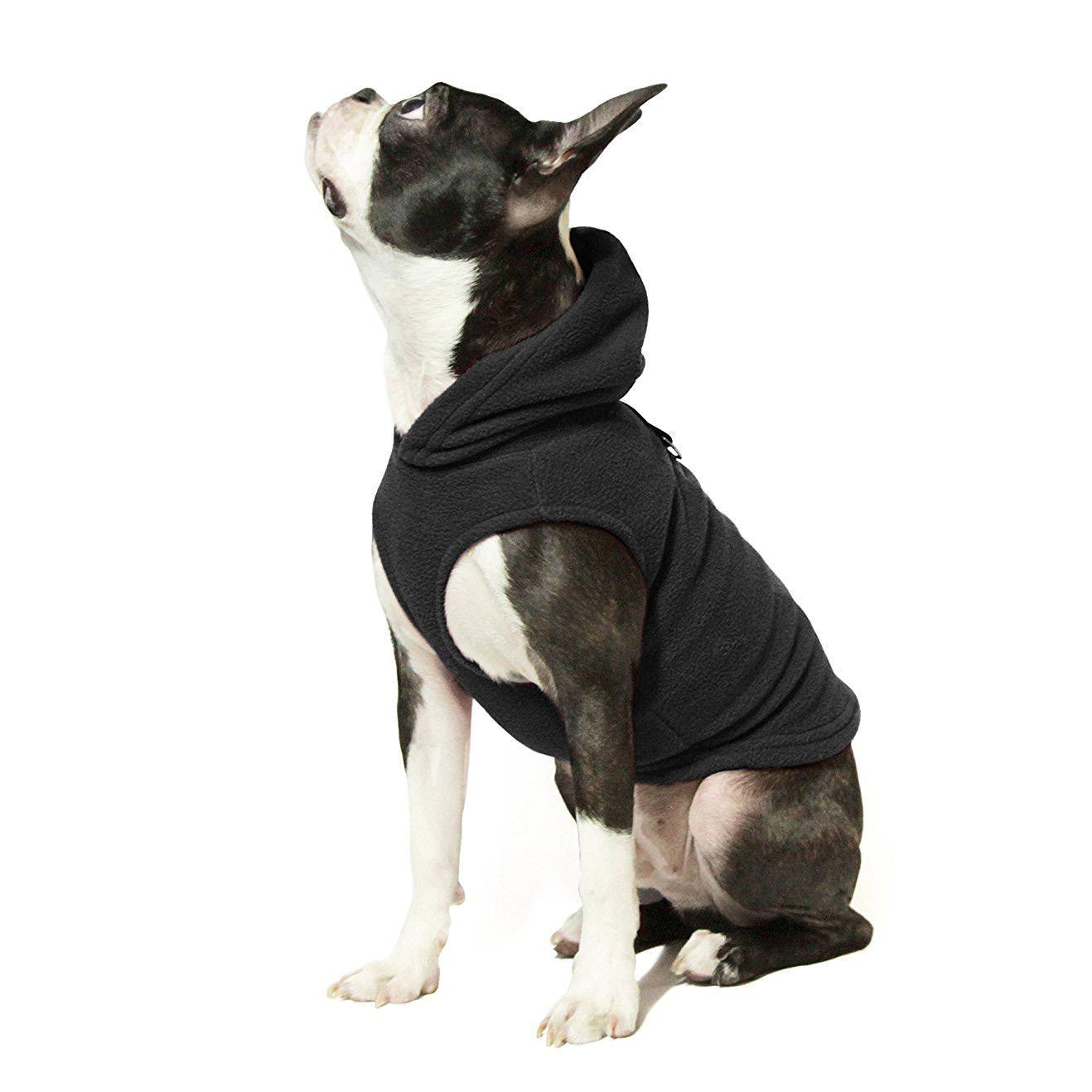 Fleece Vest Hoodie Dog Harness by Gooby - Black