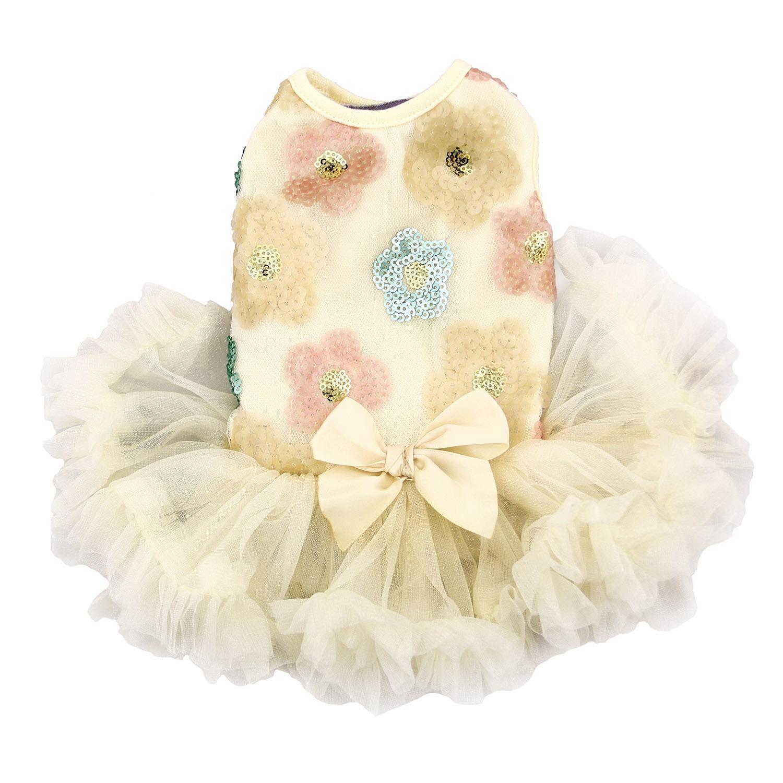 Floral Sequin Pet Dress by Pawpatu - Cream