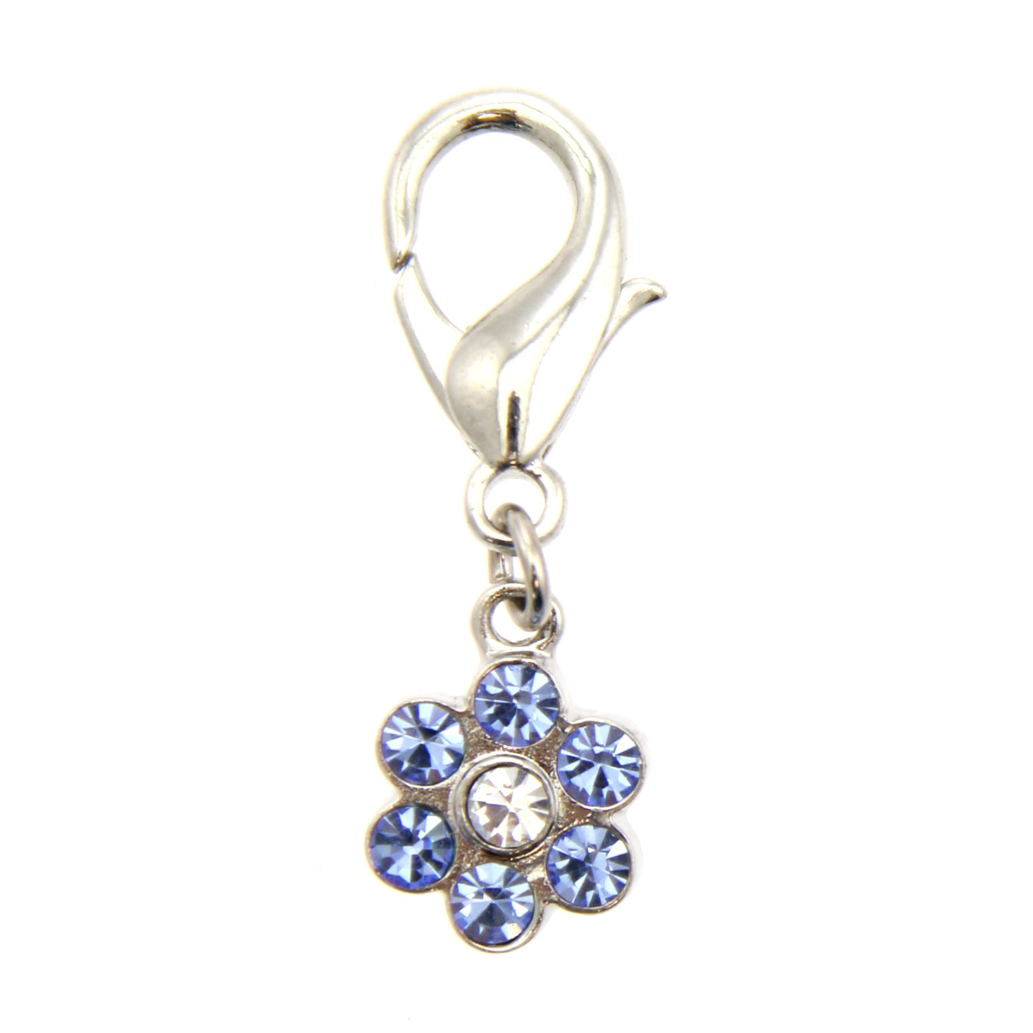 Flower D-Ring Pet Collar Charm by foufou Dog - Blue