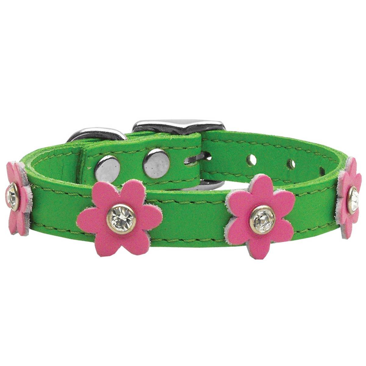 Flower Emerald Green Leather Dog Collar Pin Baxterboo