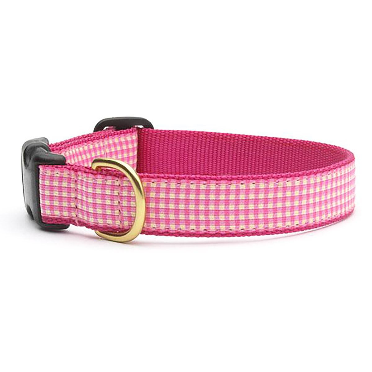Pink Gingham Dog Collar by Up Country