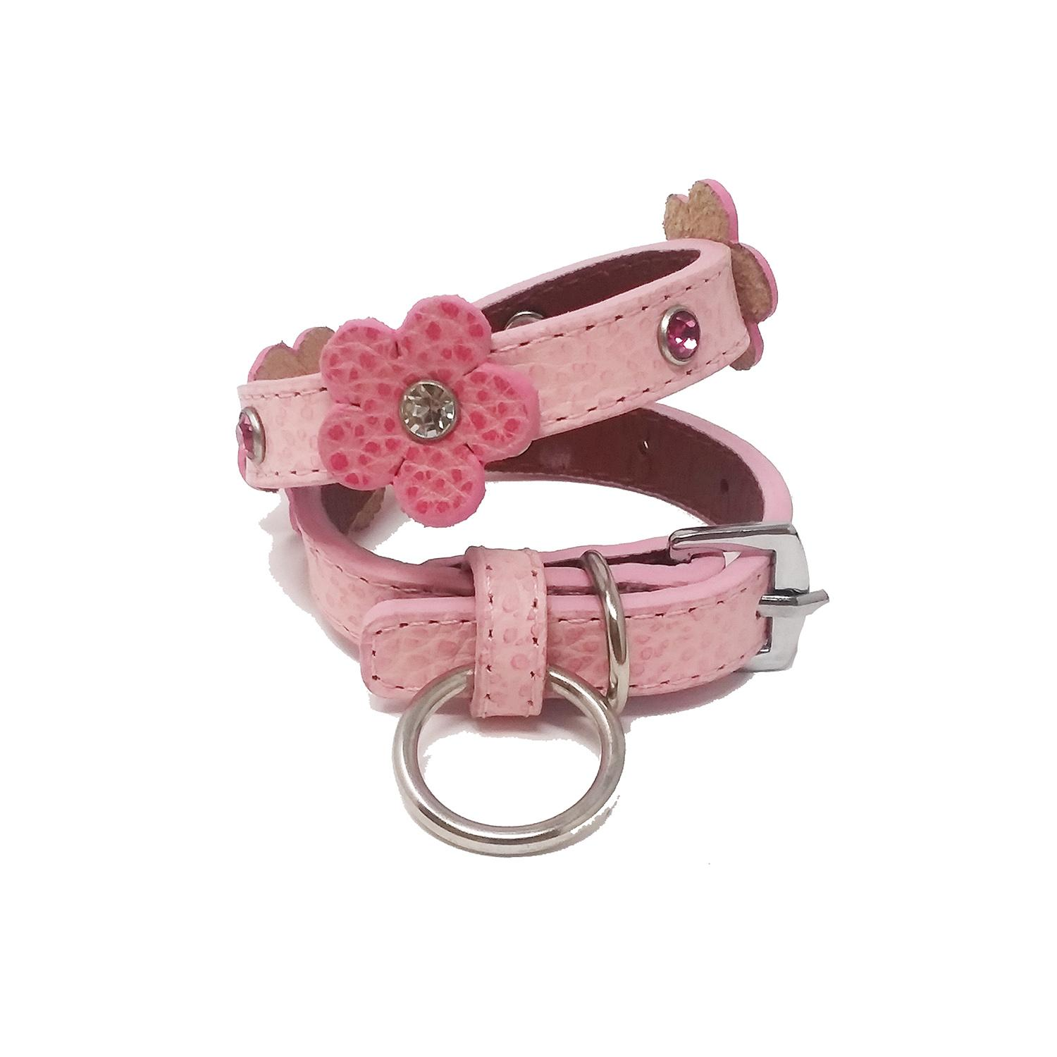 Flower and Gem Dog Collar by Cha Cha Couture - Pink