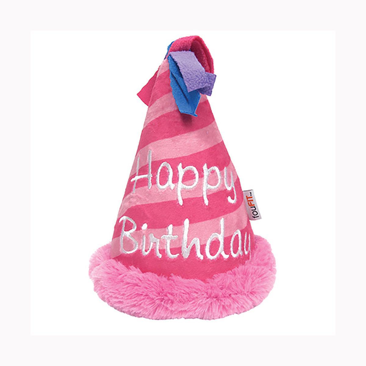 foufou Dog Birthday Hat Crinkle Plush Dog Toy - Pink