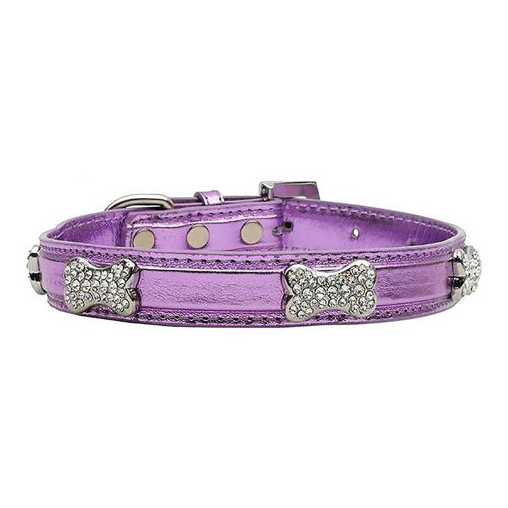 Foxy Metallic Dog Collar with Crystal Bones by Cha-Cha Couture - Lilac