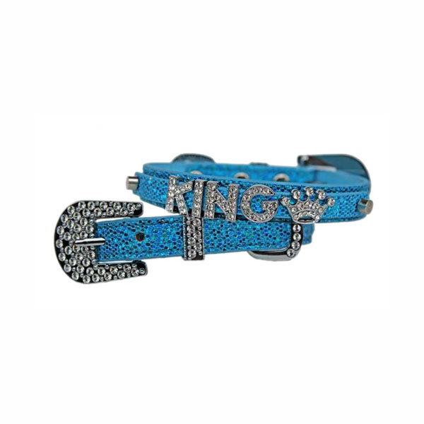 Foxy Glitz Dog Collar With Letter Strap by Cha-Cha Couture - Blue