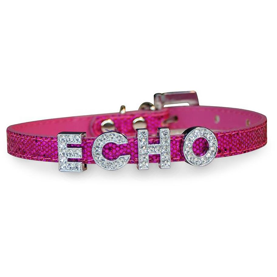 Foxy Glitz Slide Dog Collar by Cha-Cha Couture - Hot Pink