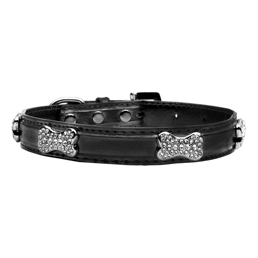 Foxy Metallic Dog Collar with Crystal Bones by Cha-Cha Couture - Black starting at $10.00!