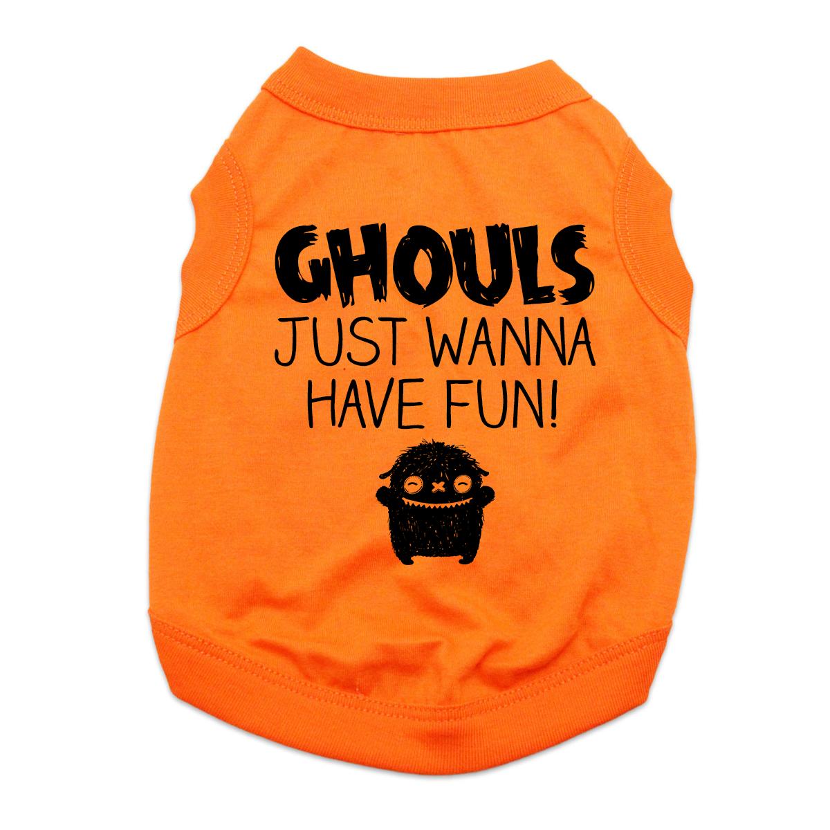 Ghouls Just Wanna Have Fun Dog Shirt - Orange