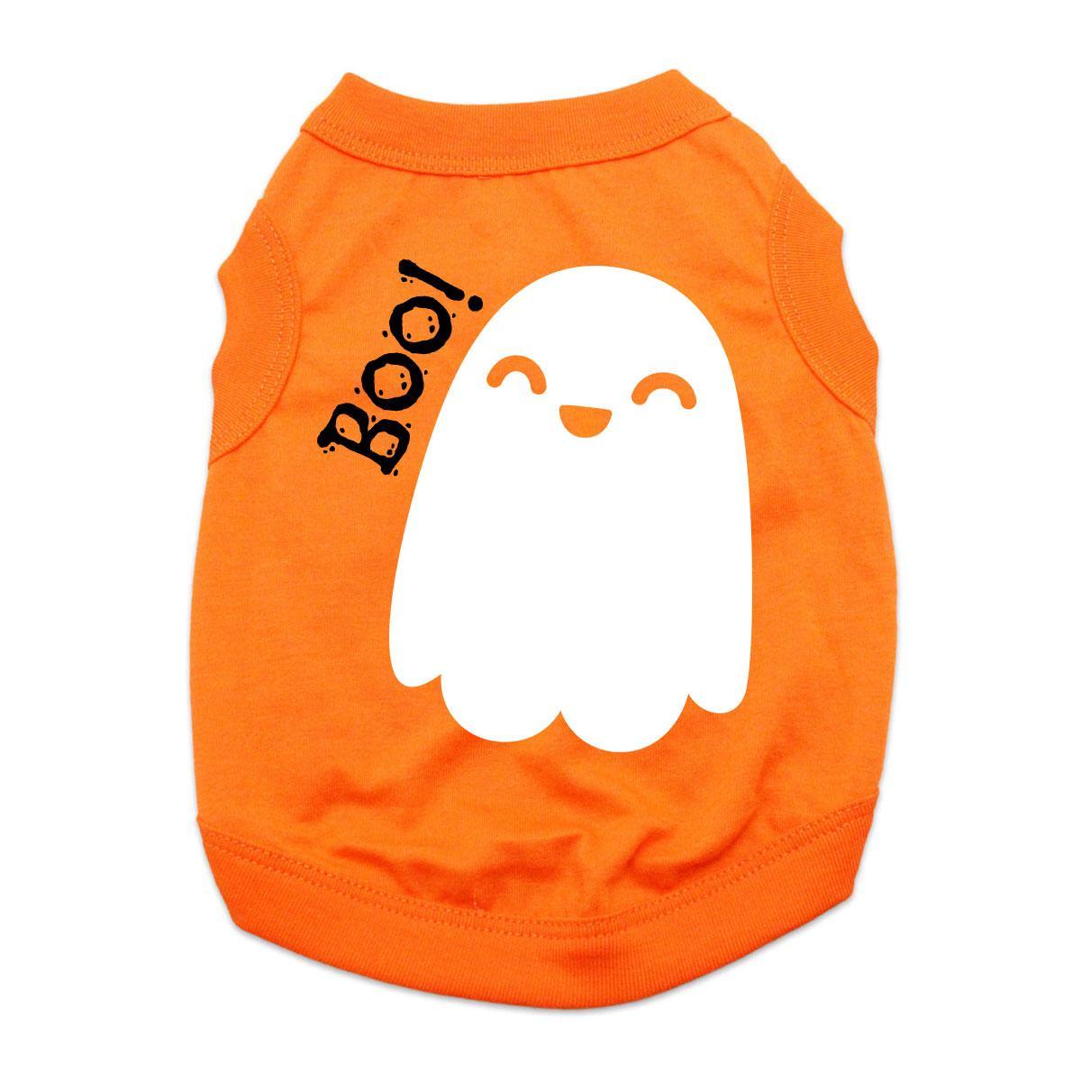 Friendly Boo Ghost Dog Shirt - Orange