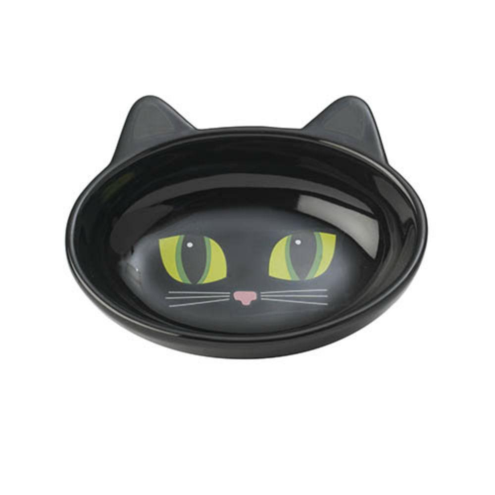 Frisky Kitty Oval Cat Food Bowl - Black