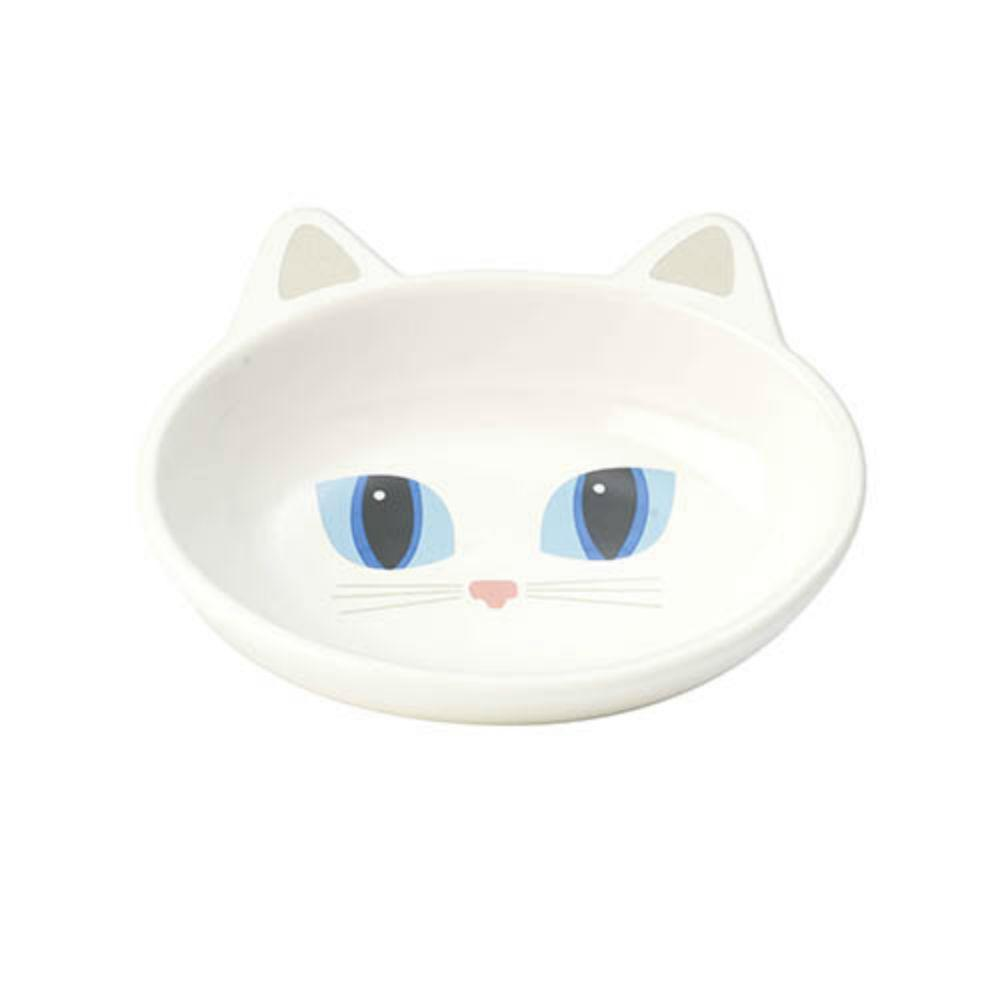 Frisky Kitty Oval Cat Food Bowl - White