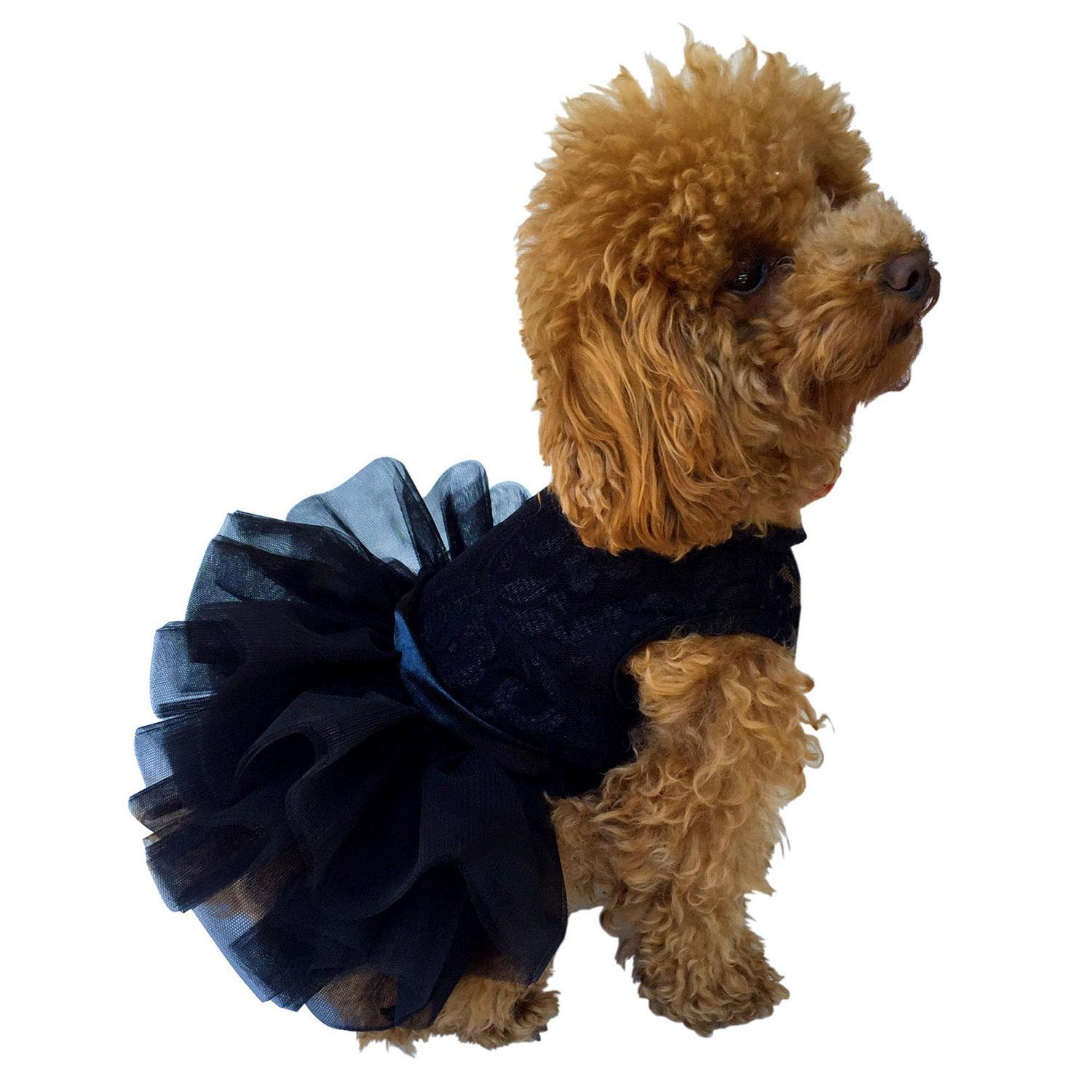 Fufu Tutu Lace Dog Dress - Black