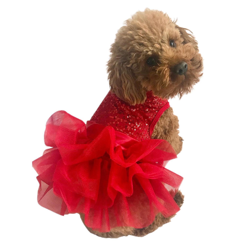 Fufu Tutu Picture Perfect Sequin Dog Dress - Red