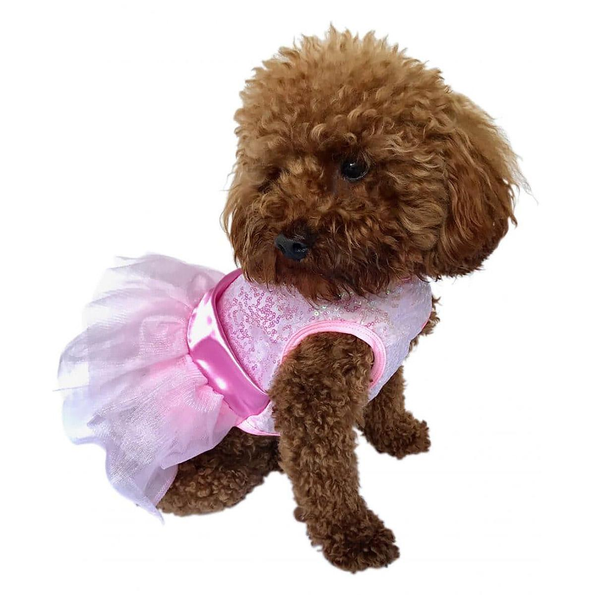 Fufu Tutu Zsa Zsa Sequin Dog Dress - Pink