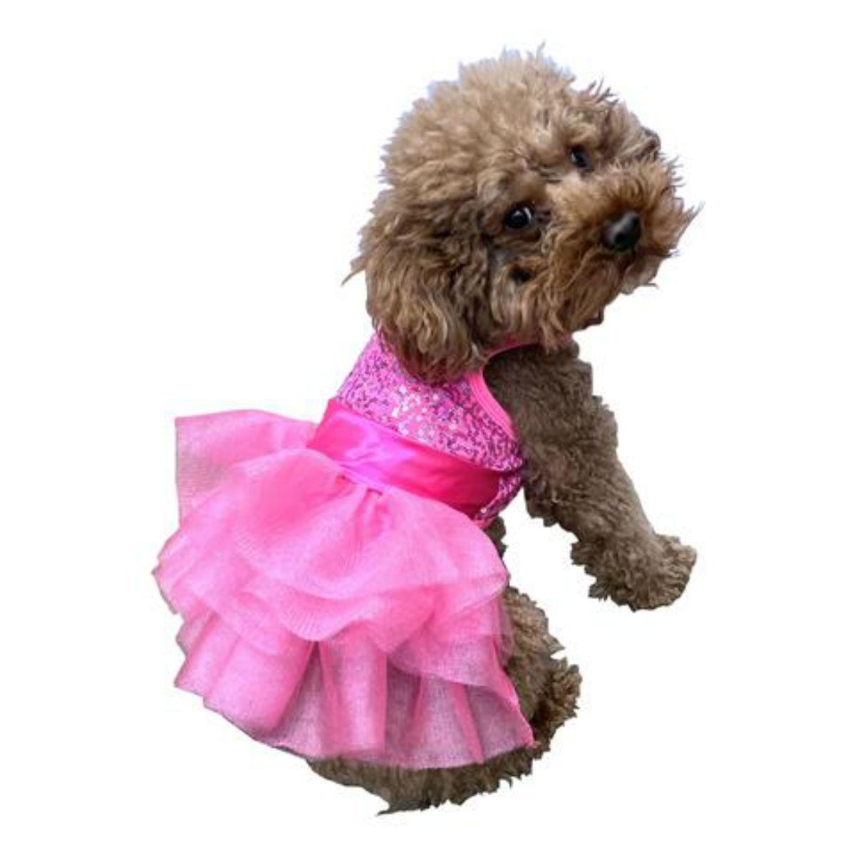 The Dog Squad's Fufu Tutu Zsa Zsa Sequin Dog Dress - Hot Pink