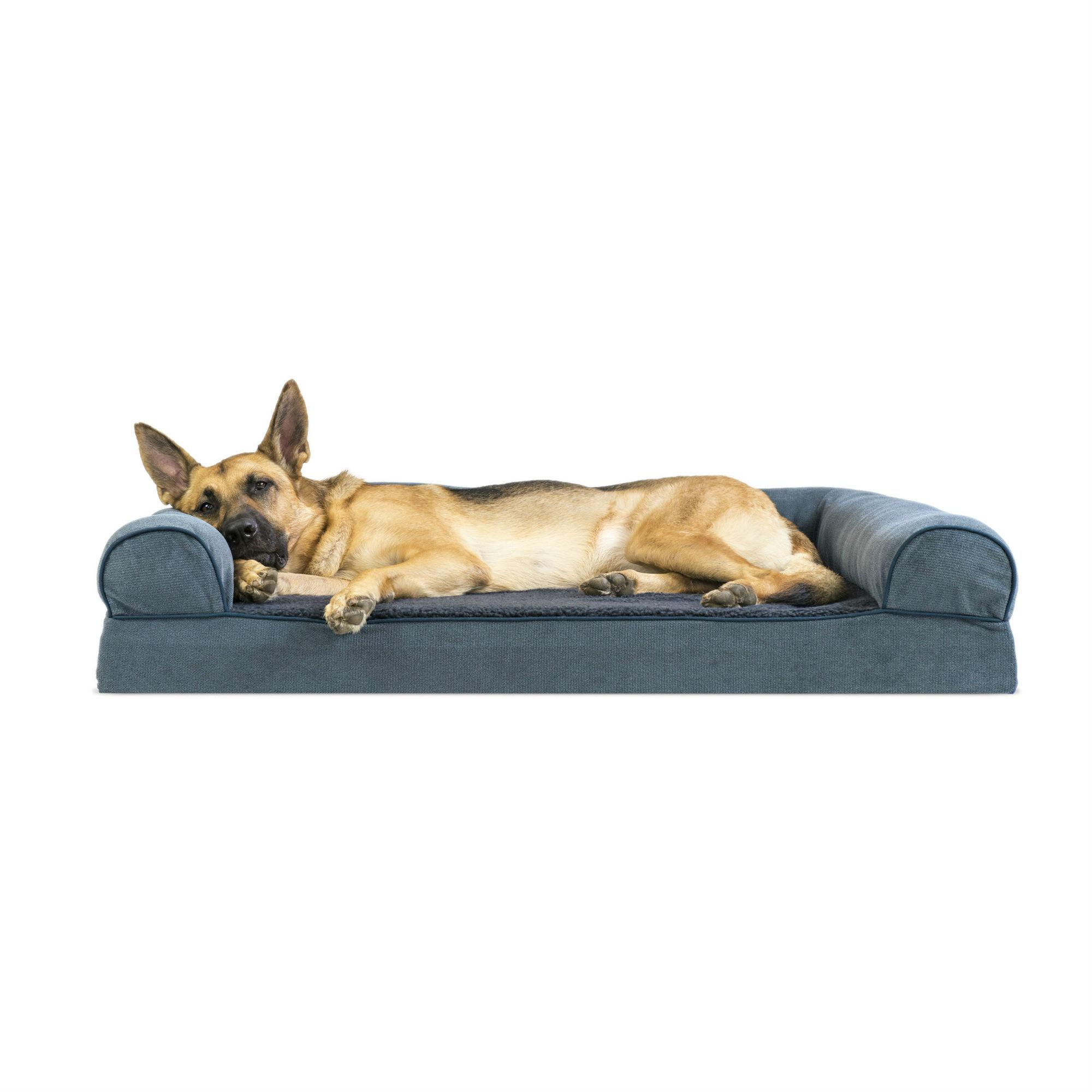 FurHaven Faux Fleece & Chenille Soft Woven Memory Top Sofa Pet Bed - Orion Blue