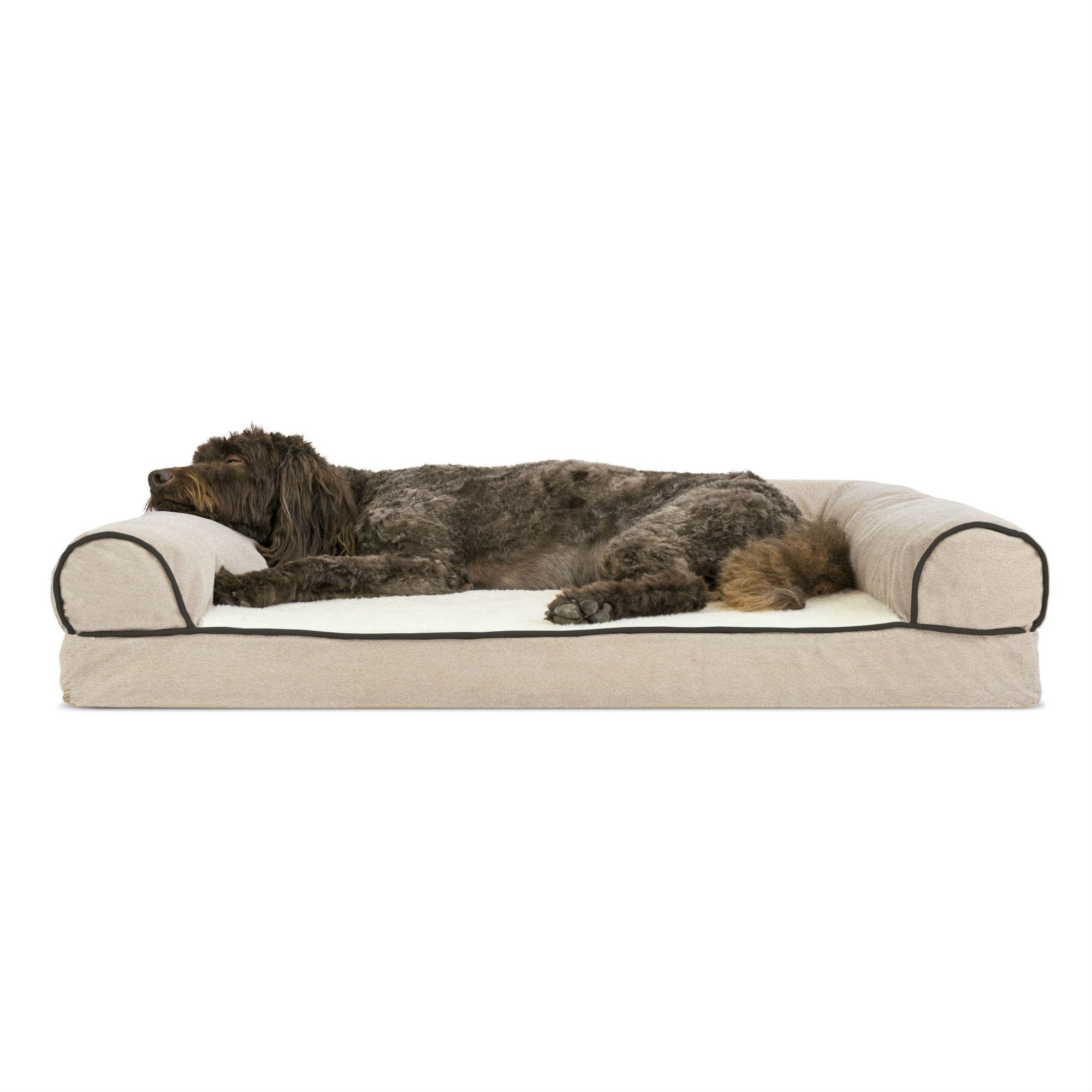 FurHaven Faux Fleece & Chenille Soft Woven Memory Top Sofa Pet Bed - Cream