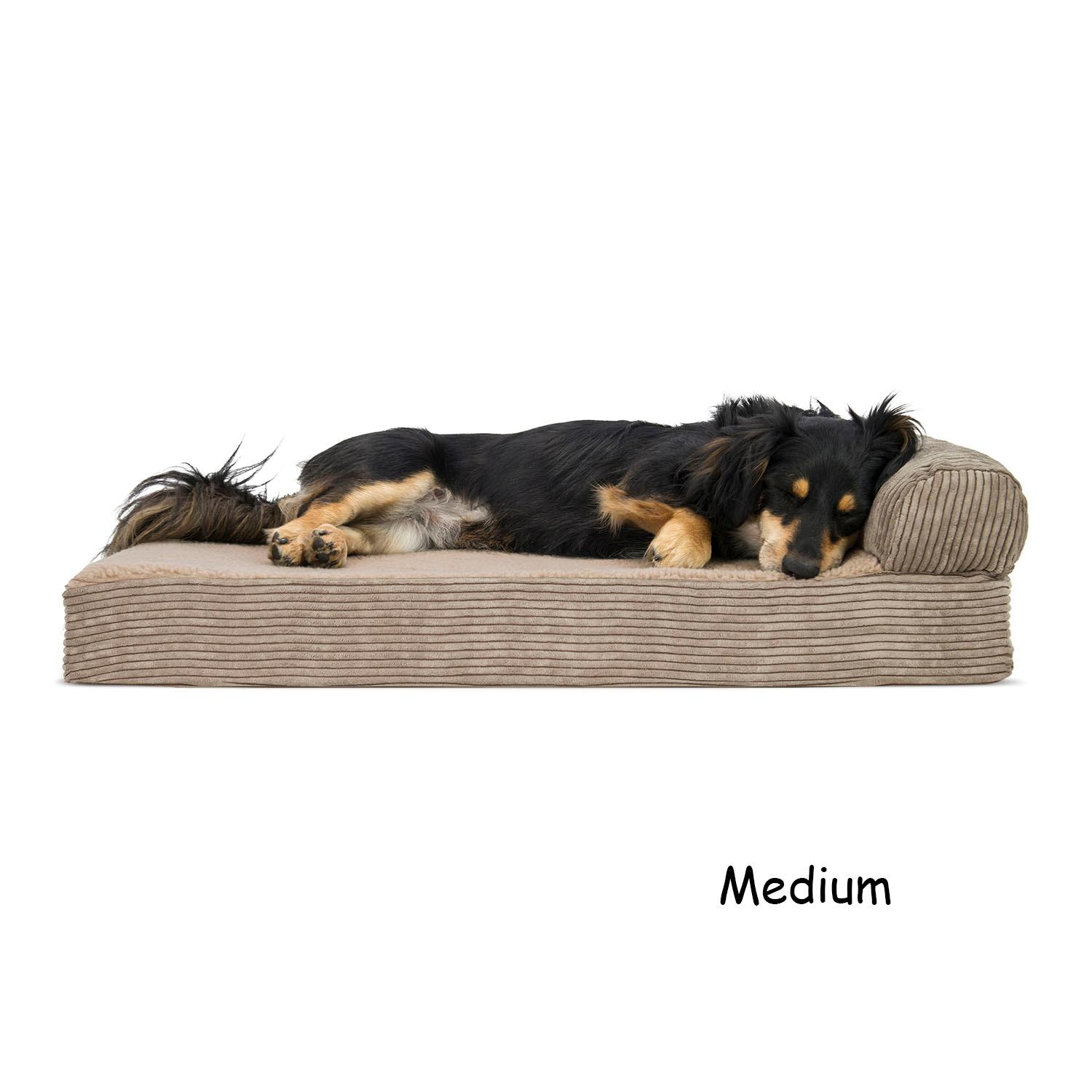 FurHaven Faux Fleece & Corduroy Chaise Lounge Orthopedic Sofa Dog Bed - Sandstone