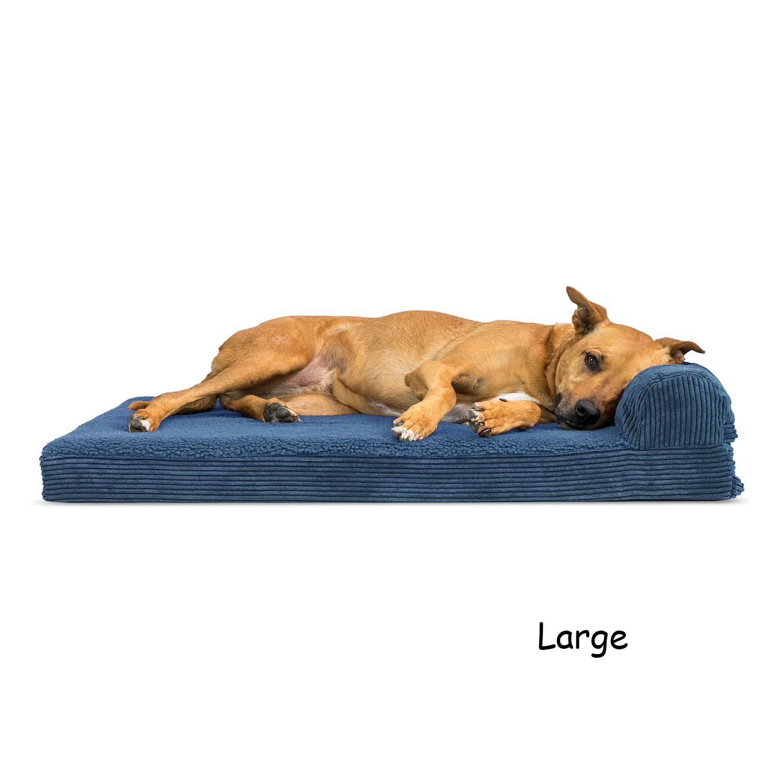 FurHaven Faux Fleece & Corduroy Chaise Lounge Orthopedic Sofa Dog Bed - Navy Blue