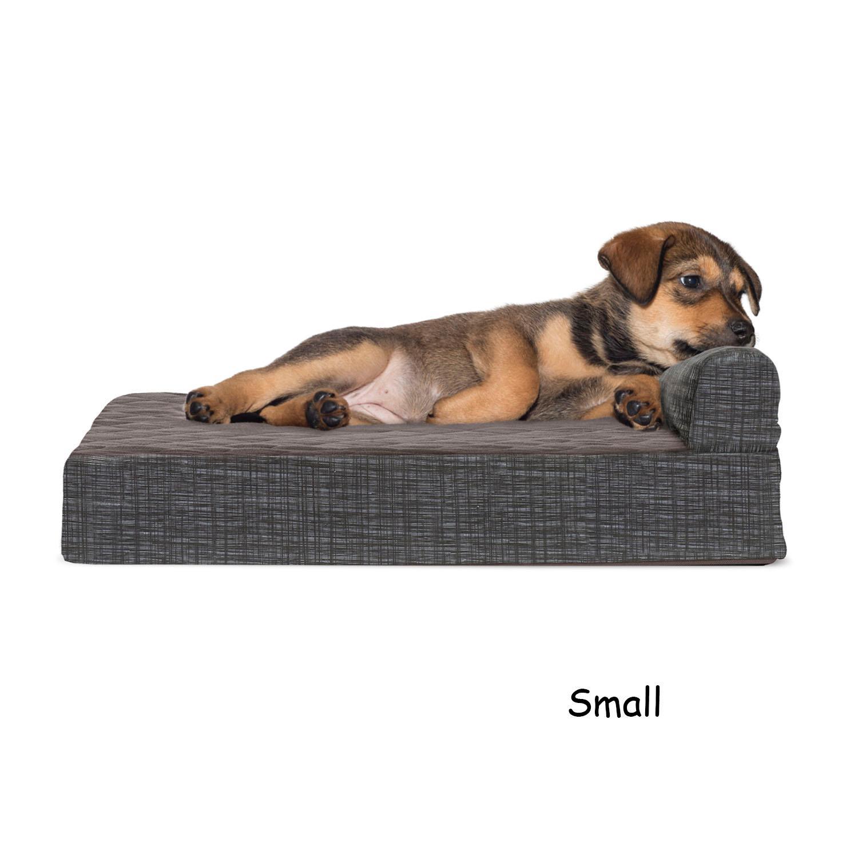 FurHaven Fleece & Print Suede Chaise Lounge Orthopedic Sofa Dog Bed - Espresso