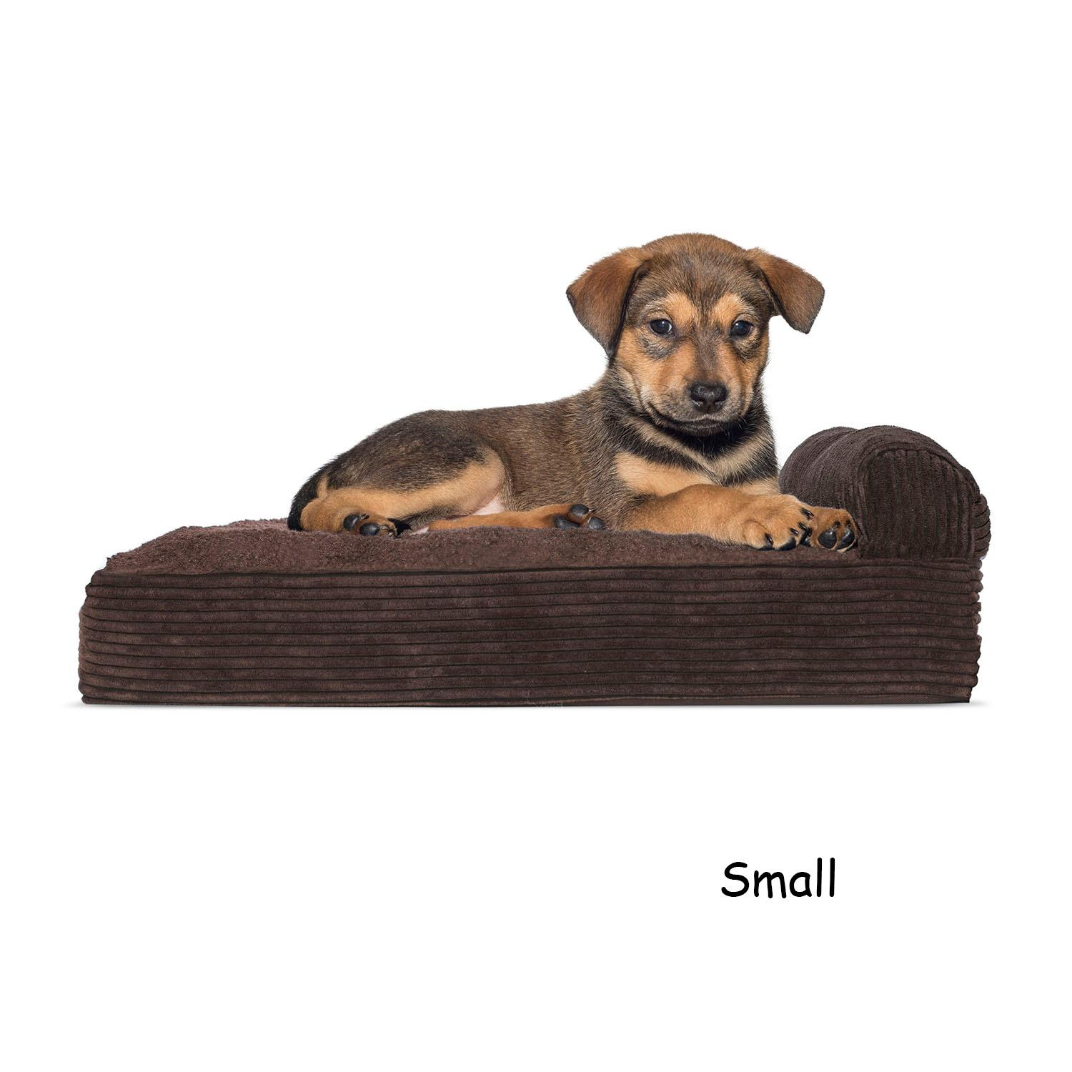 FurHaven Faux Fleece & Corduroy Chaise Lounge Orthopedic Sofa Dog Bed - Dark Espresso