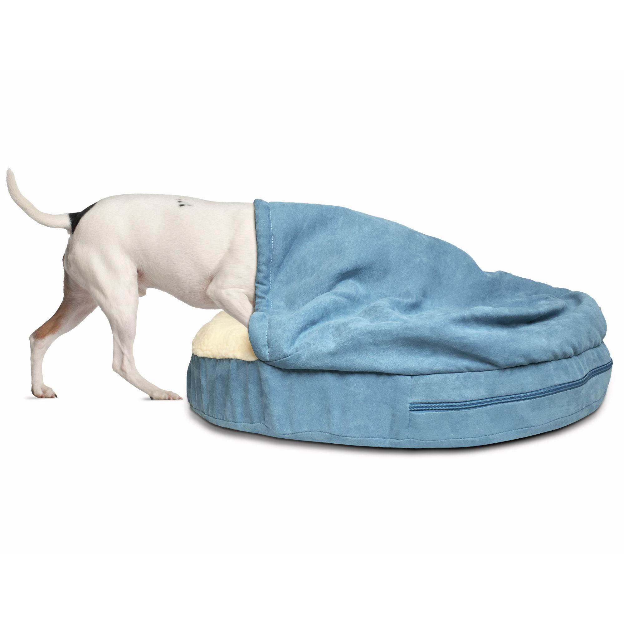 Furhaven Faux Sheepskin Snuggery Pet Bed - Blue