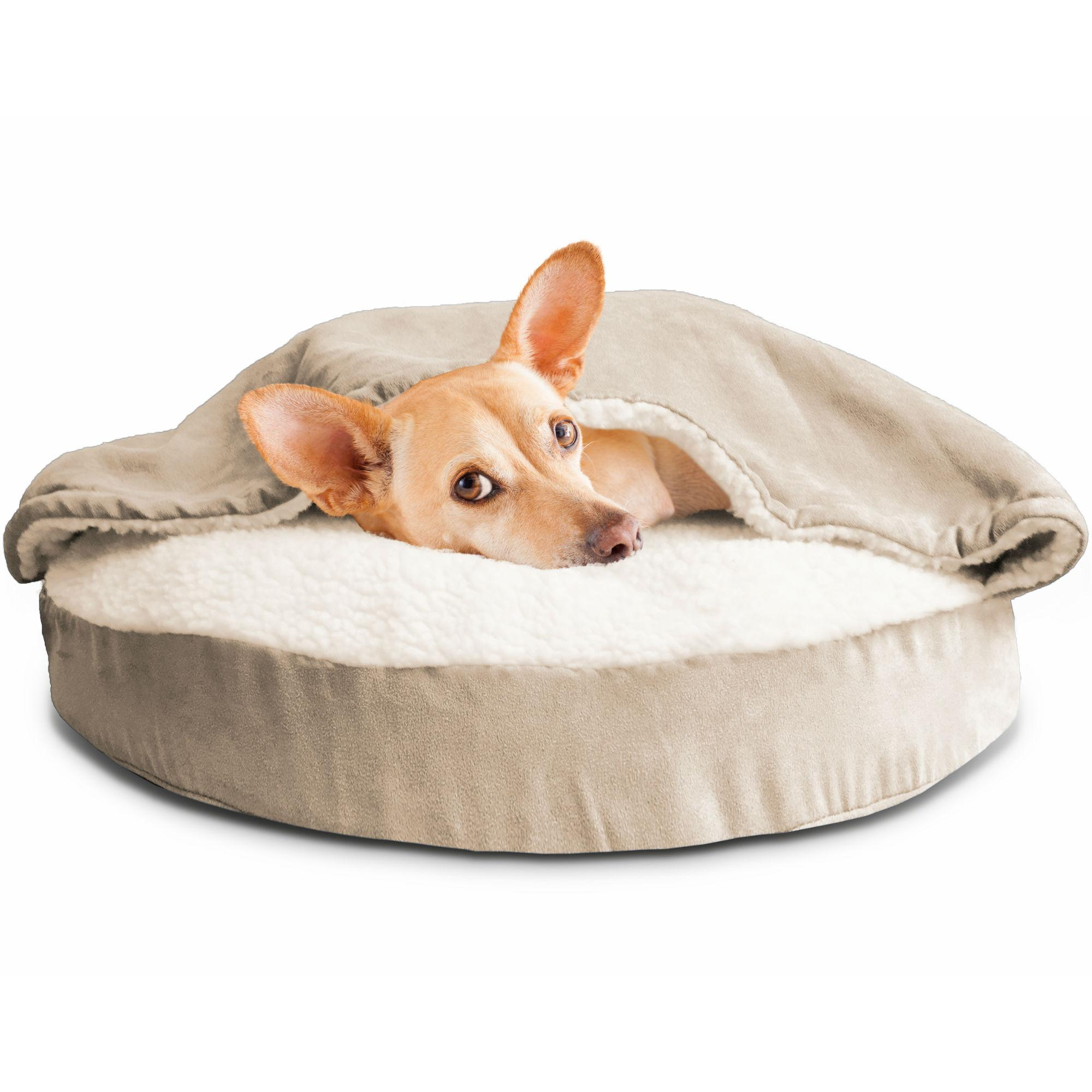 Furhaven Faux Sheepskin Snuggery Pet Bed - Cream