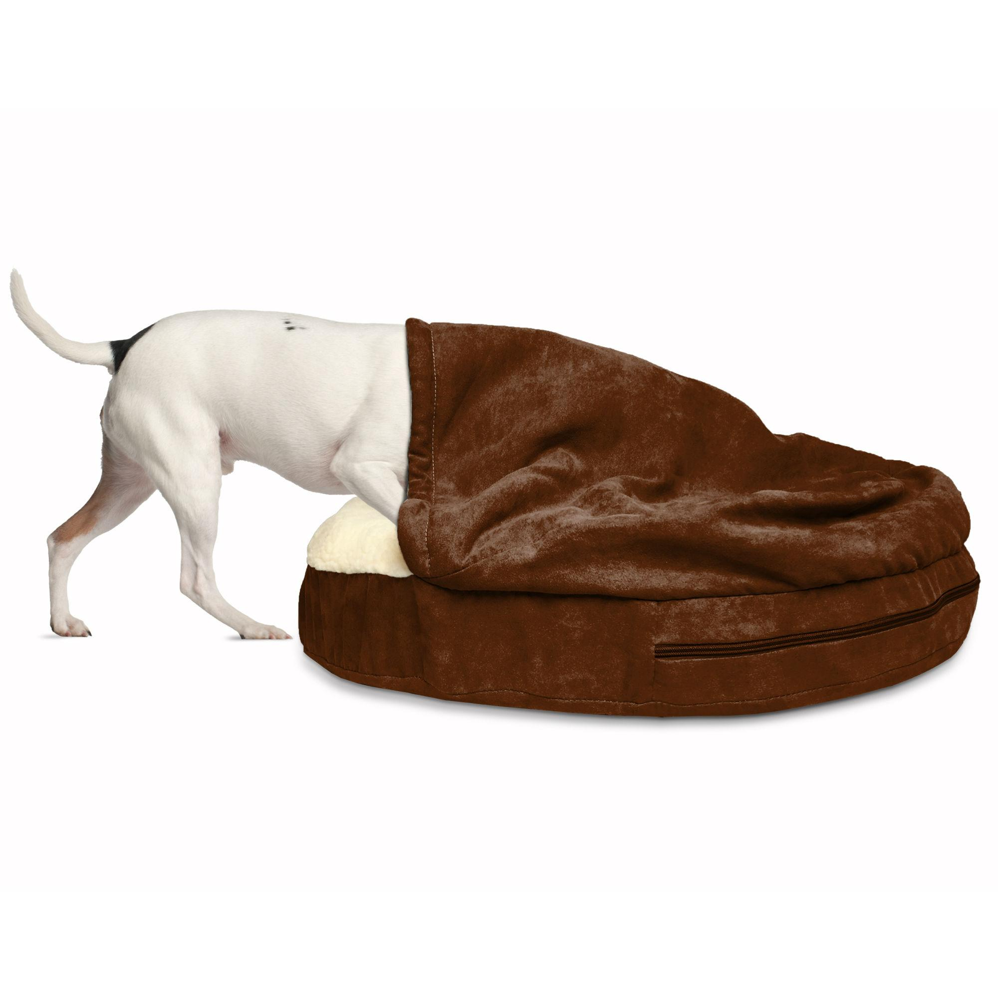 Furhaven Faux Sheepskin Snuggery Pet Bed - Espresso