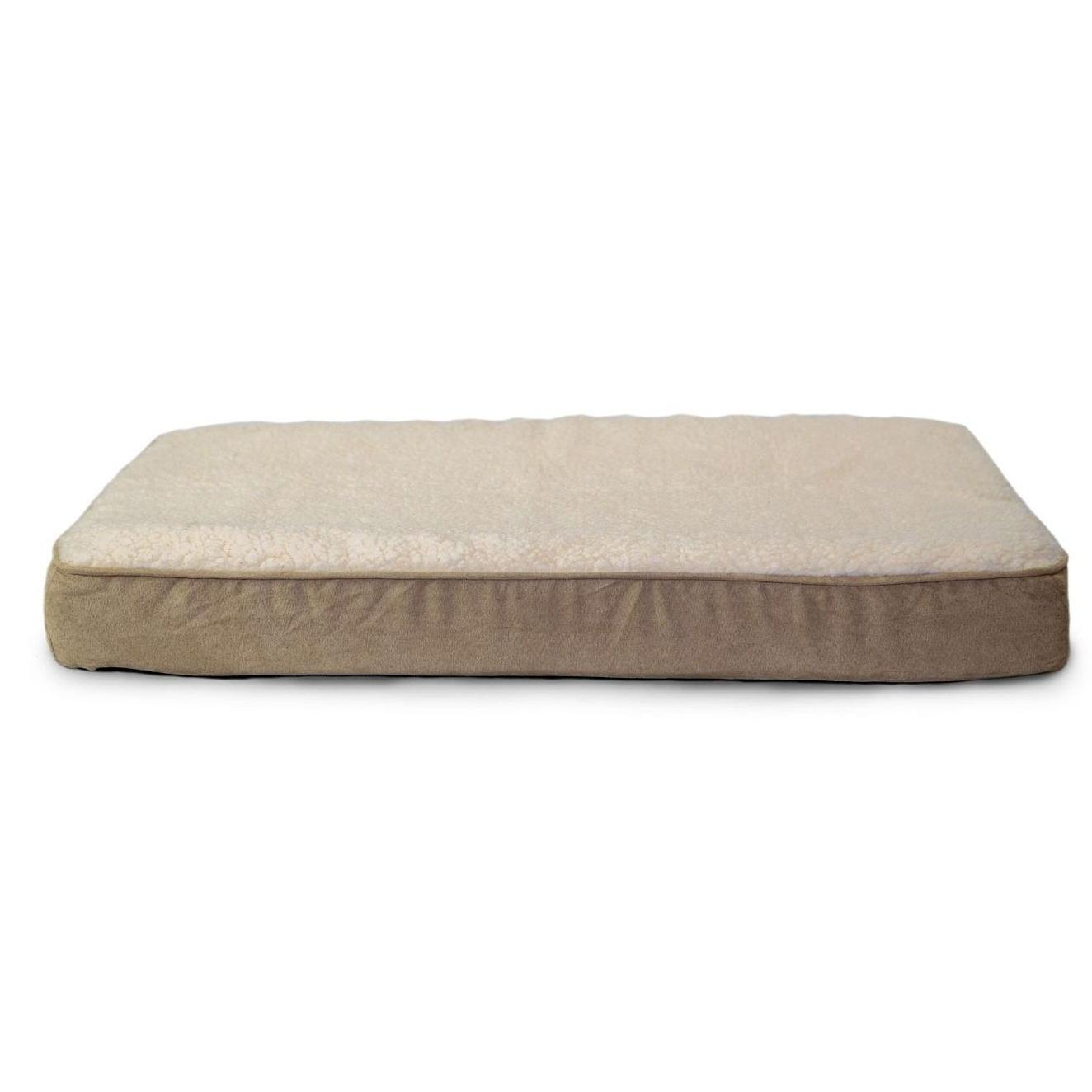 FurHaven Faux Sheepskin & Suede Deluxe Orthopedic Pet Bed - Clay