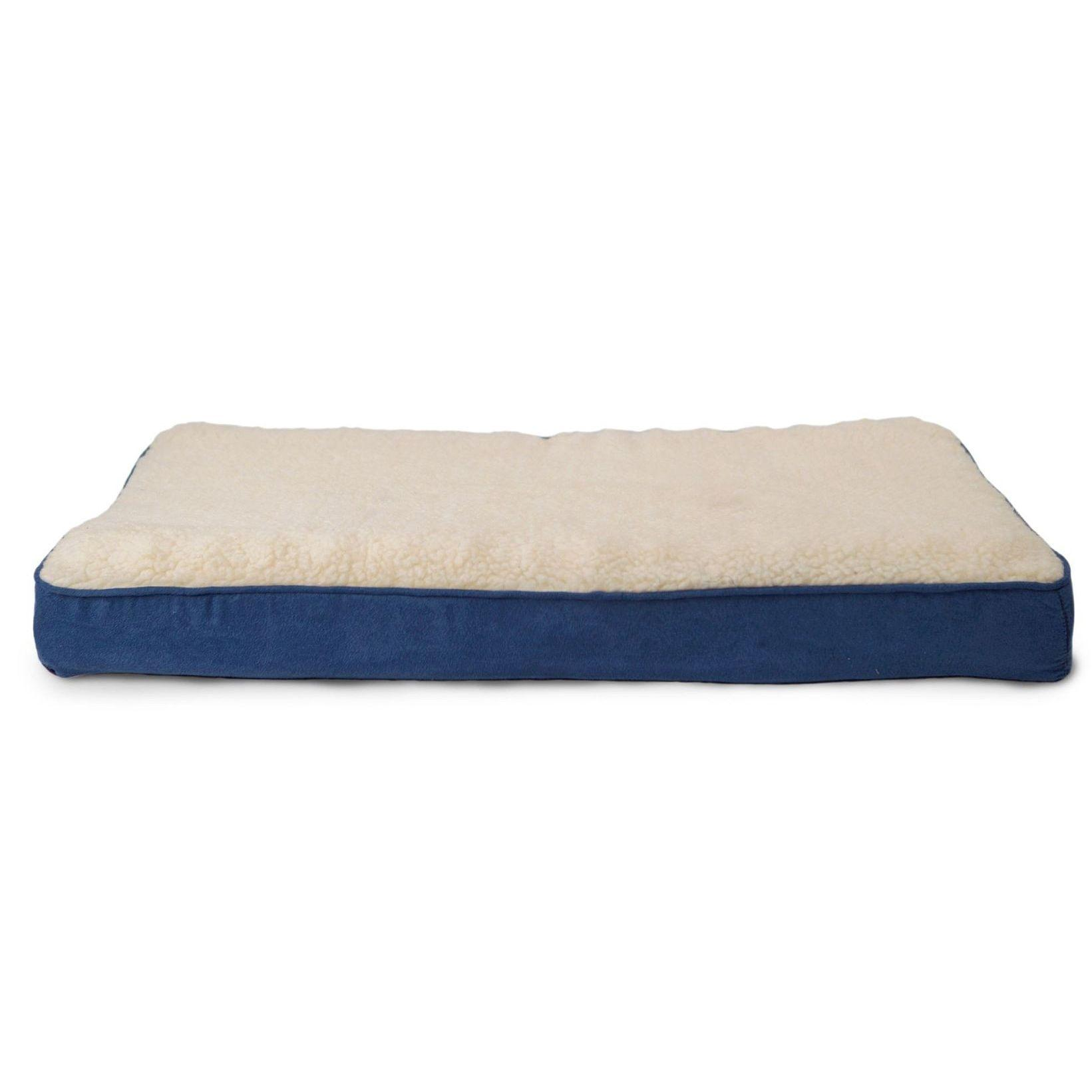 FurHaven Faux Sheepskin & Suede Deluxe Orthopedic Pet Bed - Navy