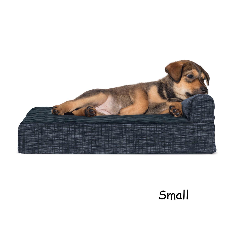 FurHaven Fleece & Print Suede Chaise Lounge Orthopedic Sofa Dog Bed - Dark Blue