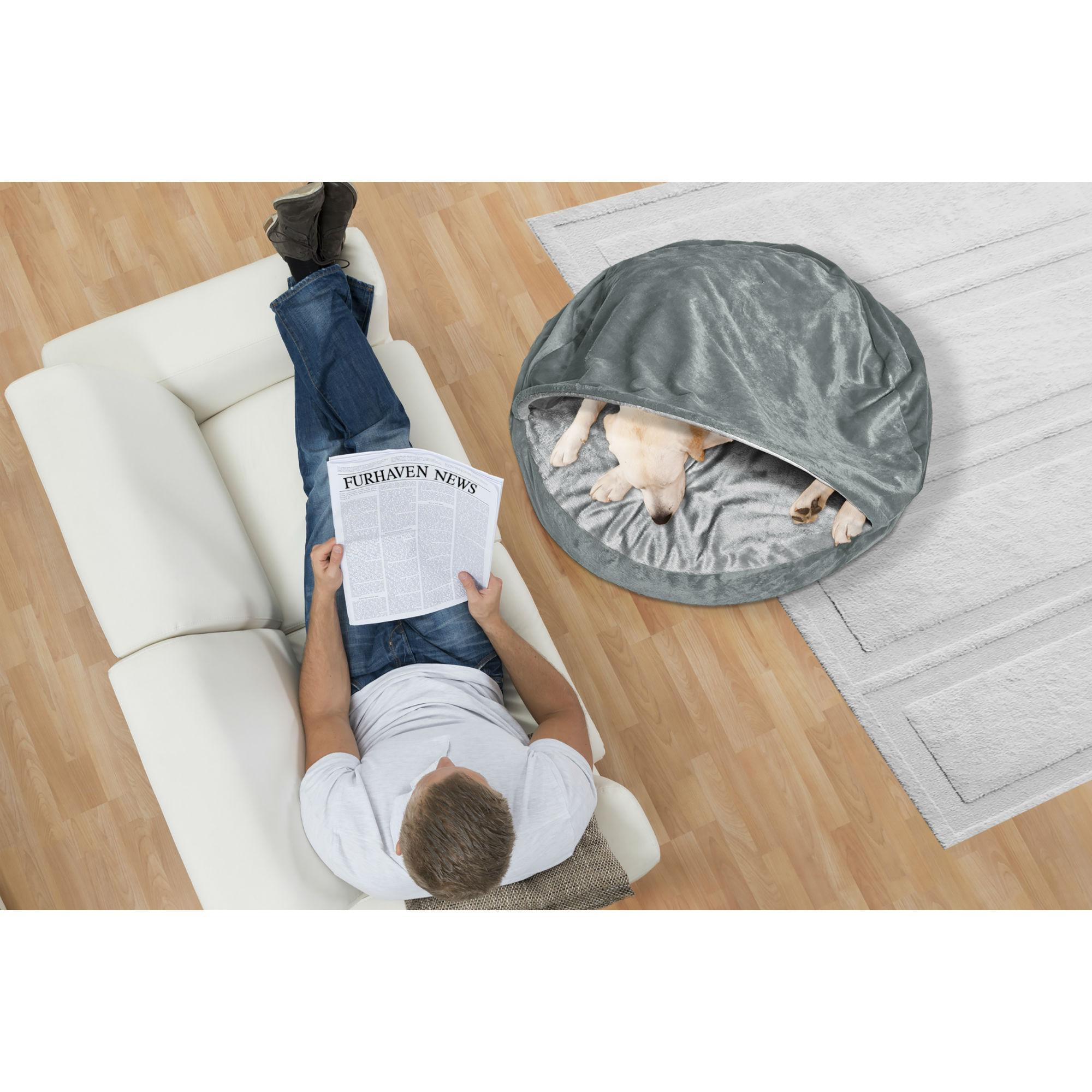 Furhaven Microvelvet Snuggery Pet Bed - Gray