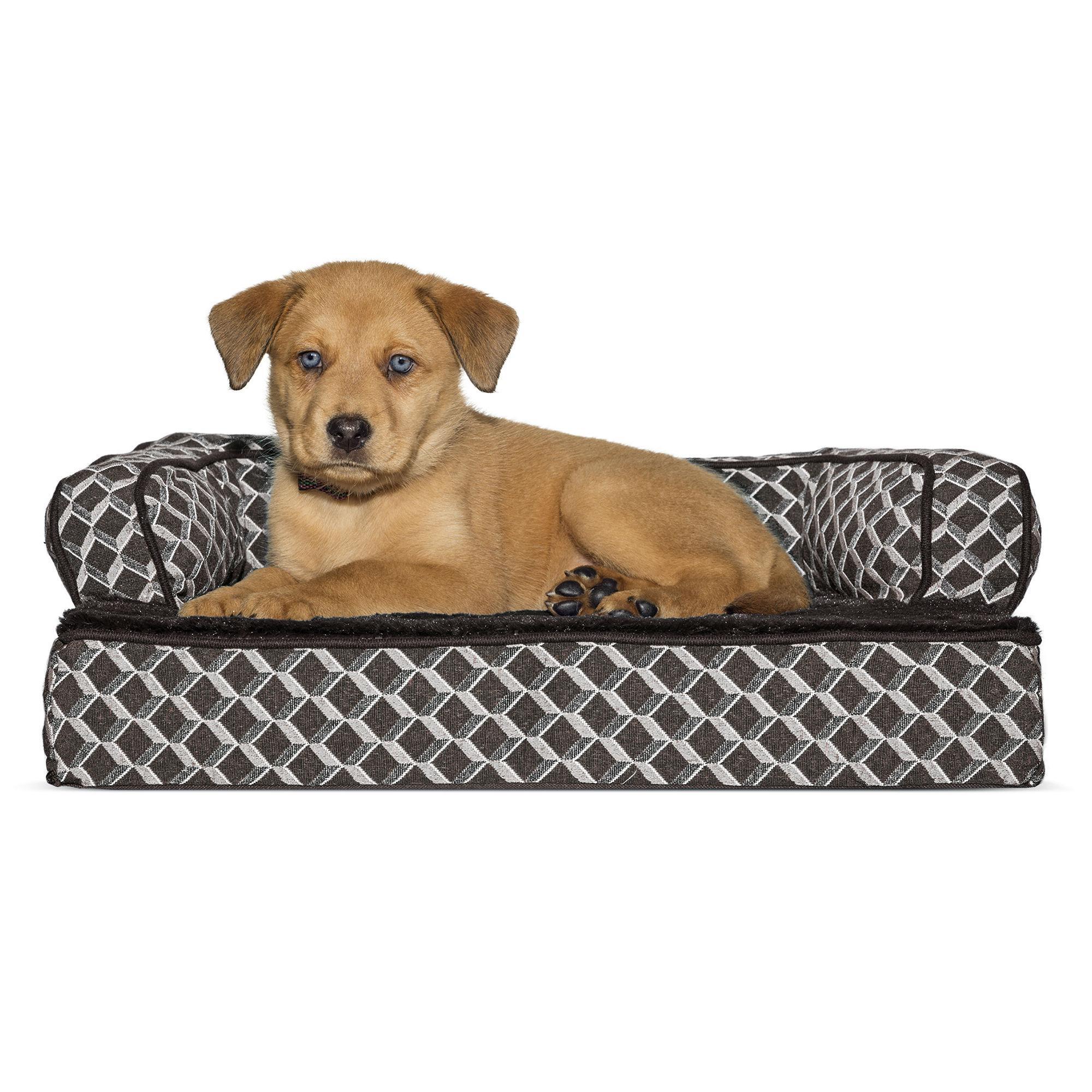 FurHaven Plush & Decor Orthopedic Sofa-Style Pet Bed - Diamond Brown