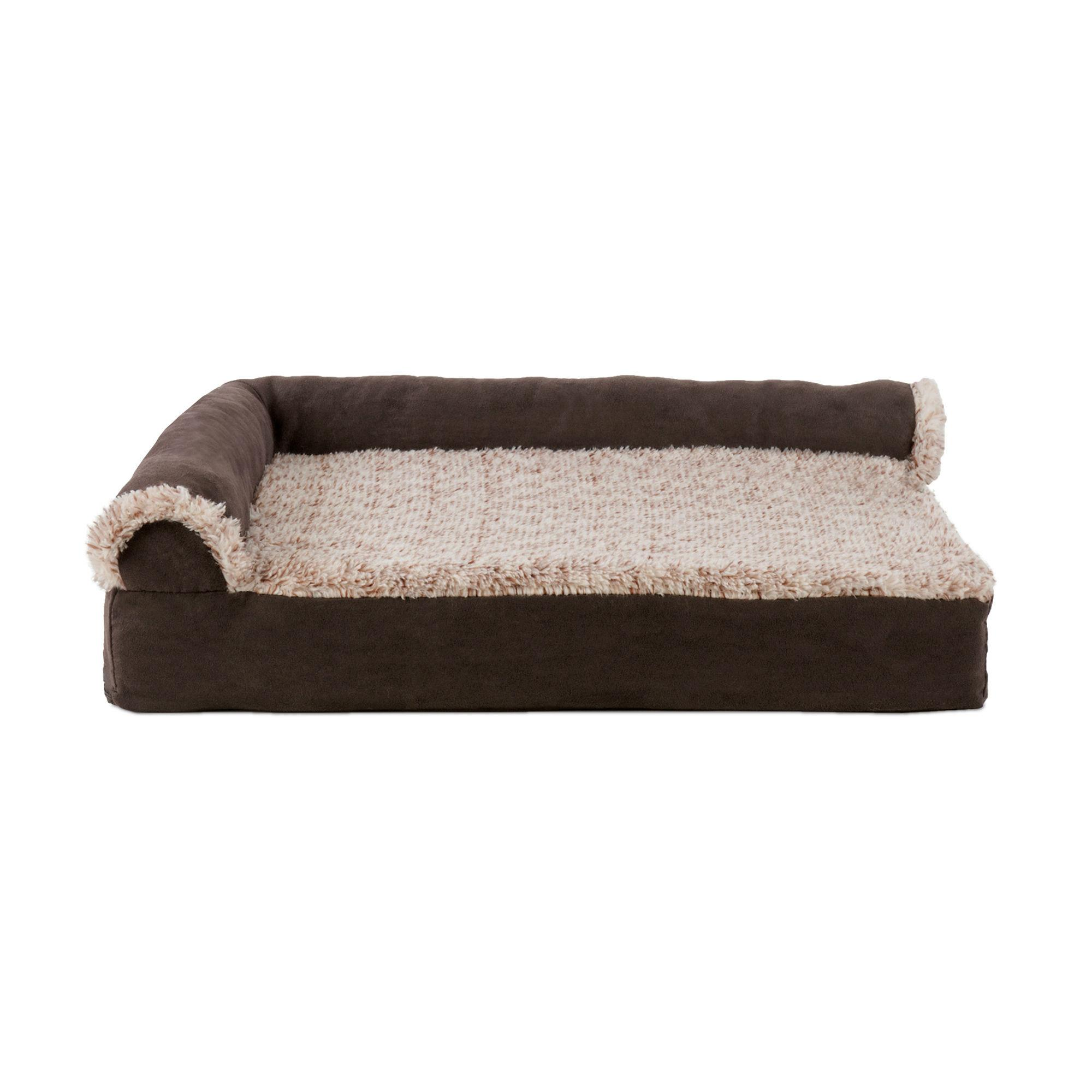 FurHaven Two-Tone Faux Fur & Suede Deluxe Chaise Lounge Sofa-Style Pet Bed - Espresso