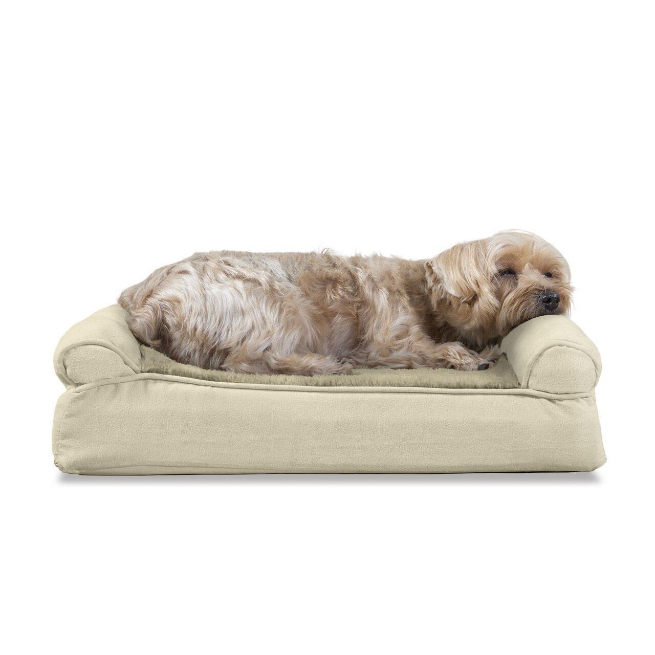 FurHaven Plush & Suede Memory Top Sofa Pet Bed - Clay