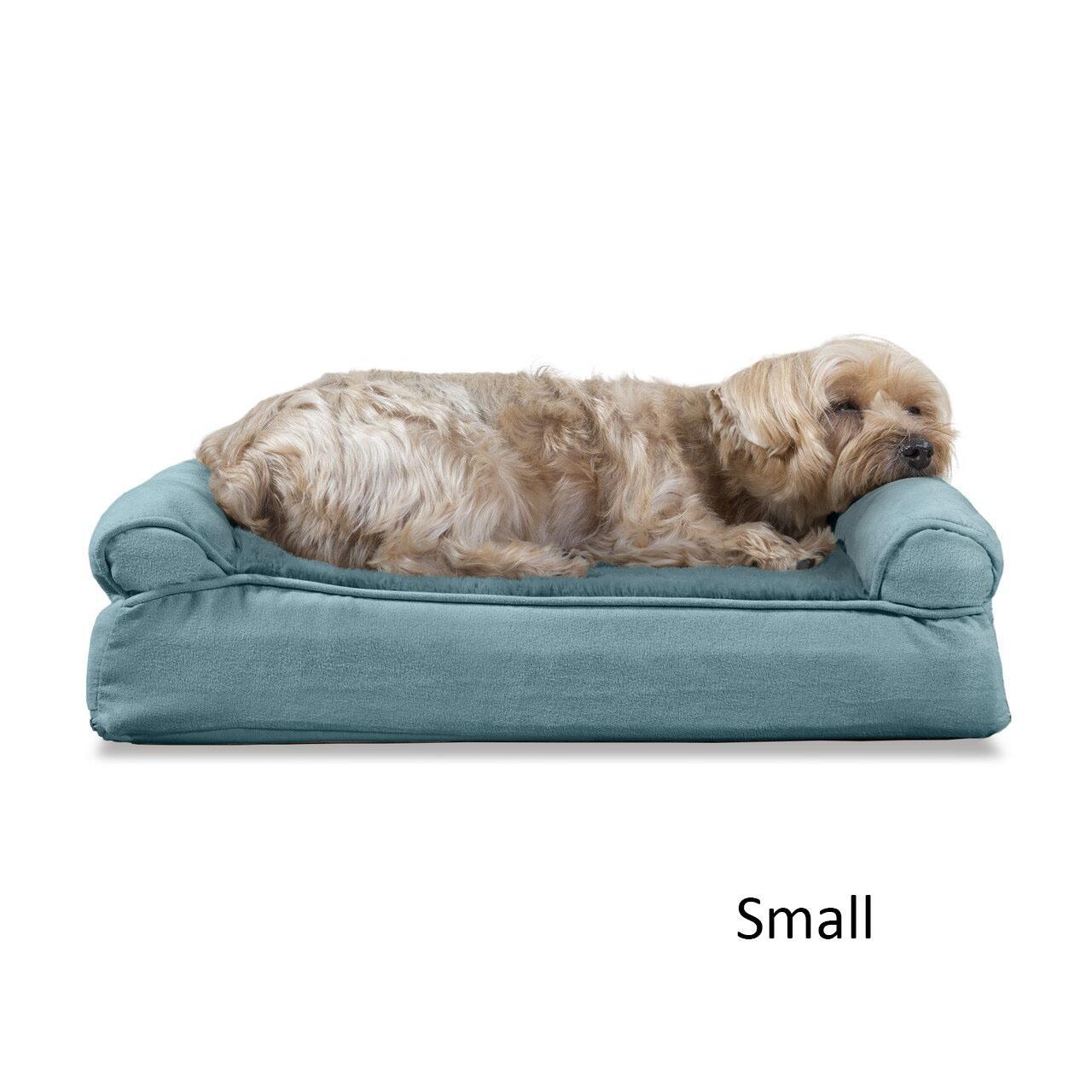 FurHaven Plush & Suede Memory Top Sofa Pet Bed - Deep Pool