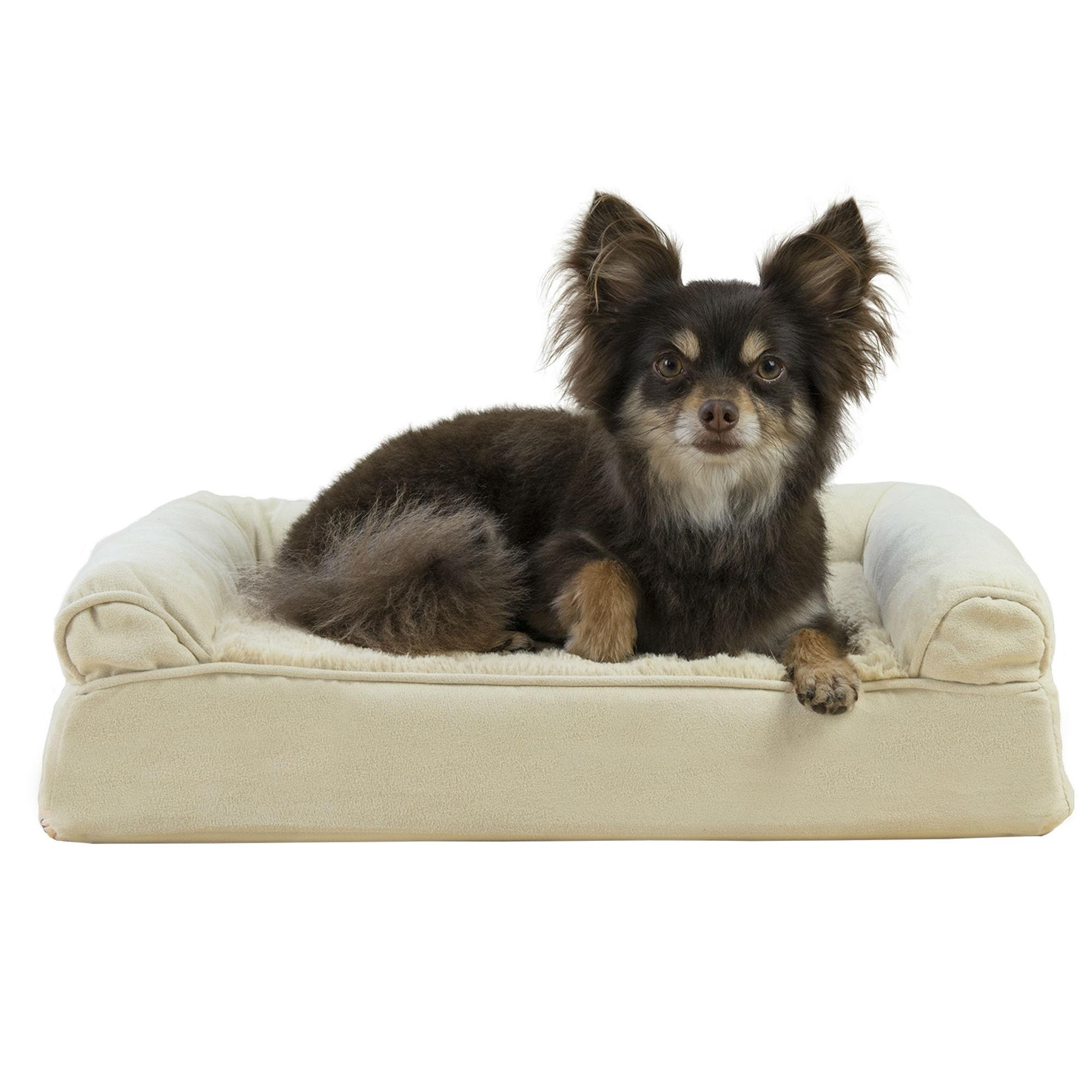 Furhaven Plush Suede Orthopedic Sofa Pet Bed Clay