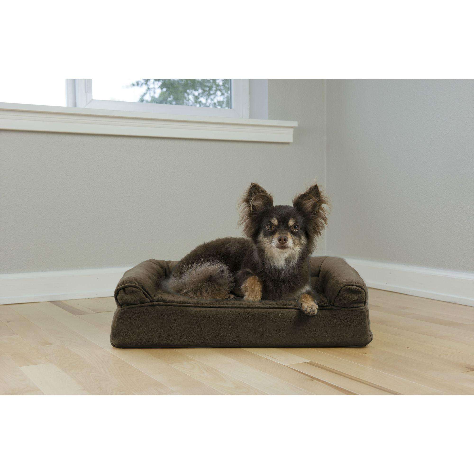 Furhaven Plush Suede Orthopedic Sofa Pet Bed Espresso