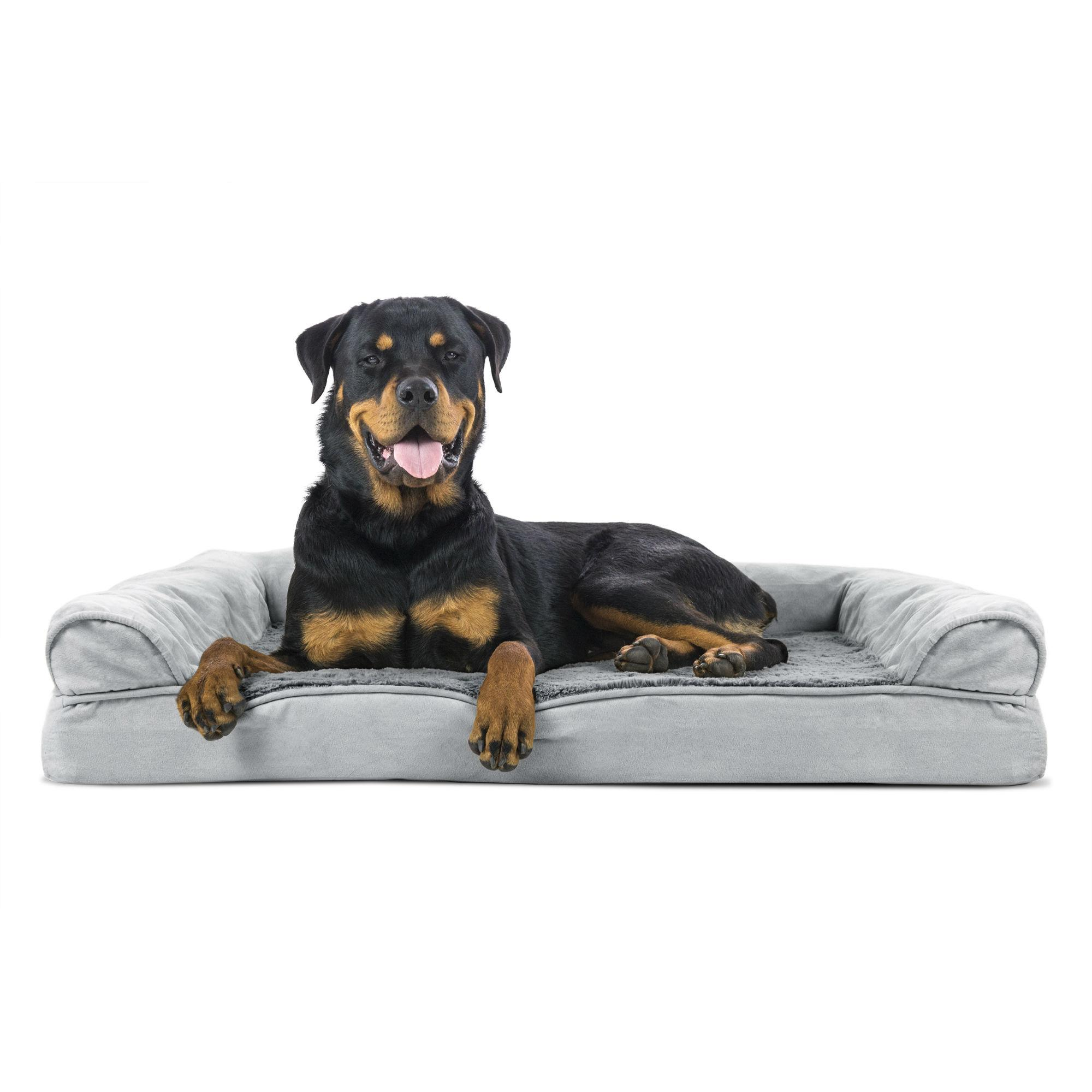 Furhaven Plush Suede Orthopedic Sofa Pet Bed Gray