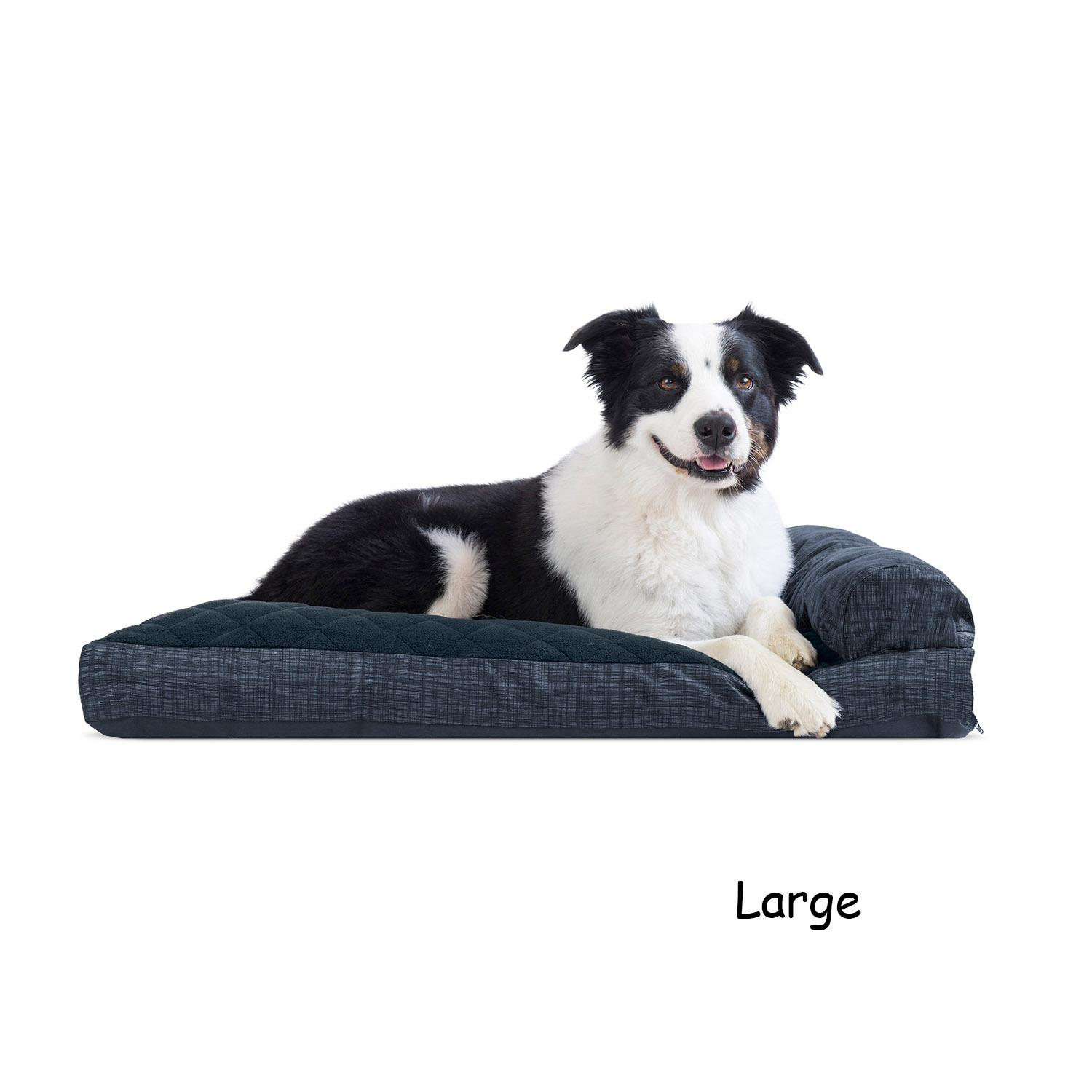 Surprising Furhaven Quilted Fleece Print Suede Lounge Pillow Sofa Style Dog Bed Dark Blue Gmtry Best Dining Table And Chair Ideas Images Gmtryco